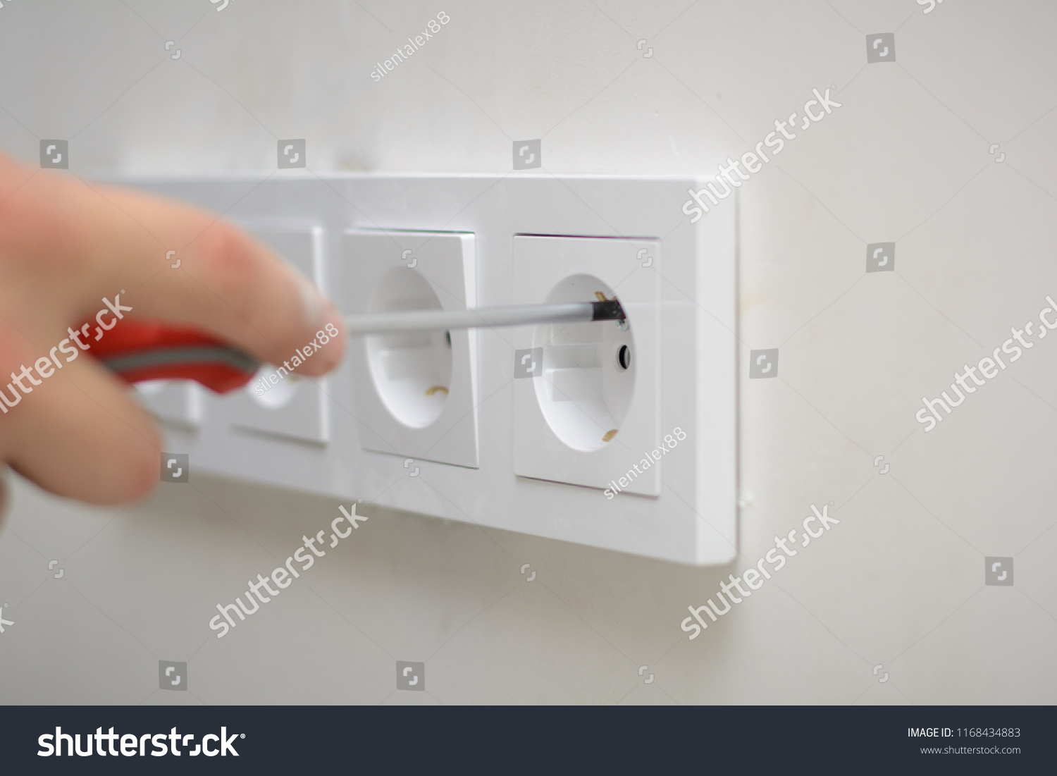 Electrician Hands Tighten Electrical Wires Wall Stock Photo Edit Wiring A Switched Outlet In Fixture Or Socket Closeup Installing