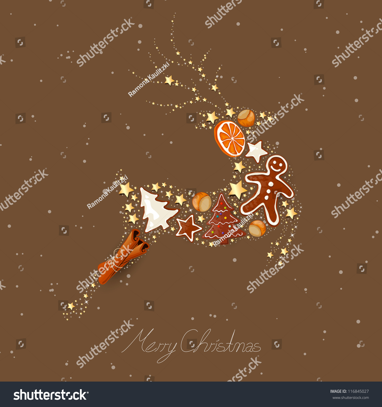 Vector Illustration Of An Abstract Christmas Reindeer ...
