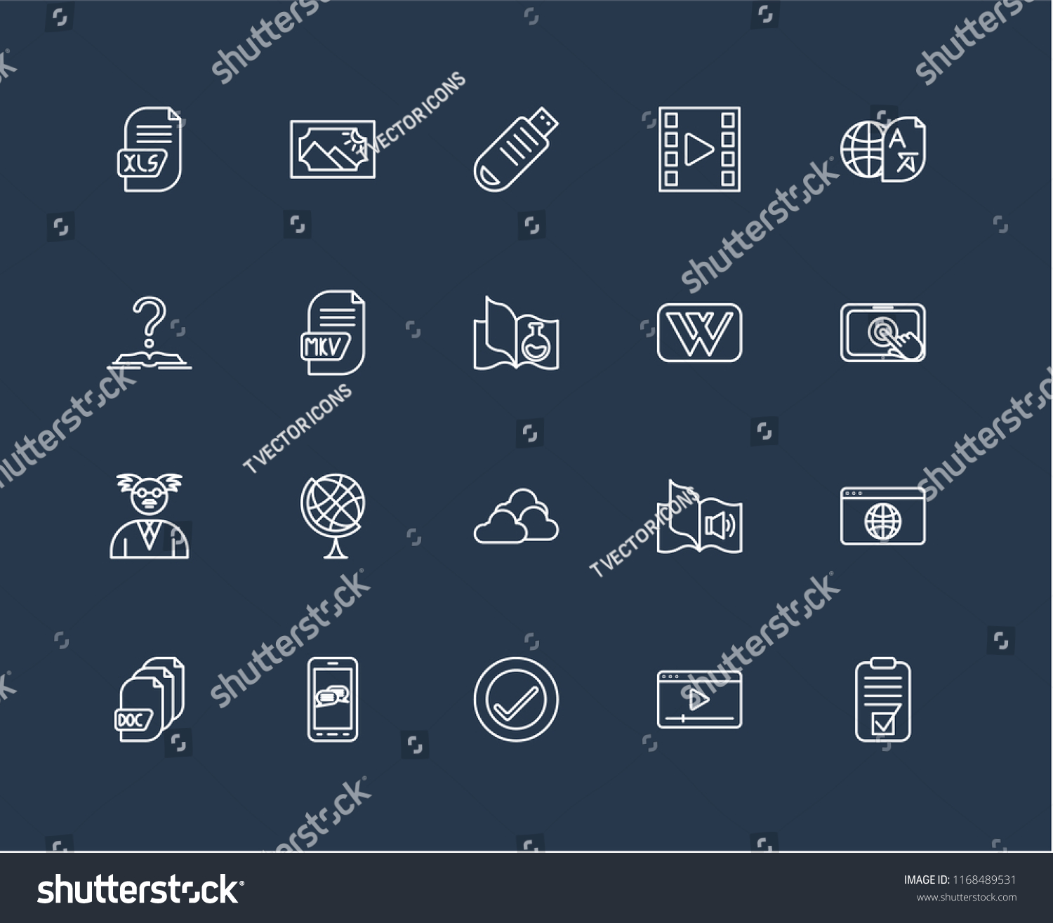 Set 20 Black Linear Icons Such Stock Vector (Royalty Free