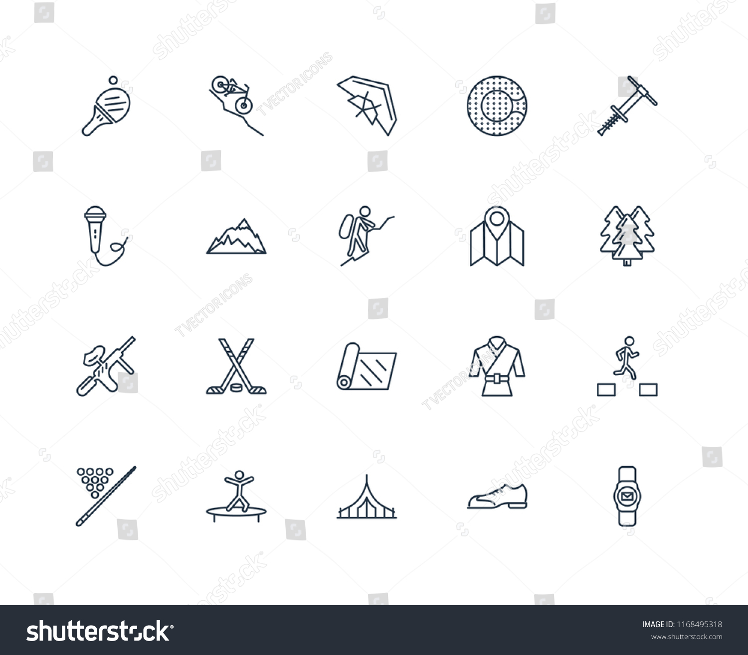 Set 20 Linear Icons Such Smartwatch Stock Vector (Royalty