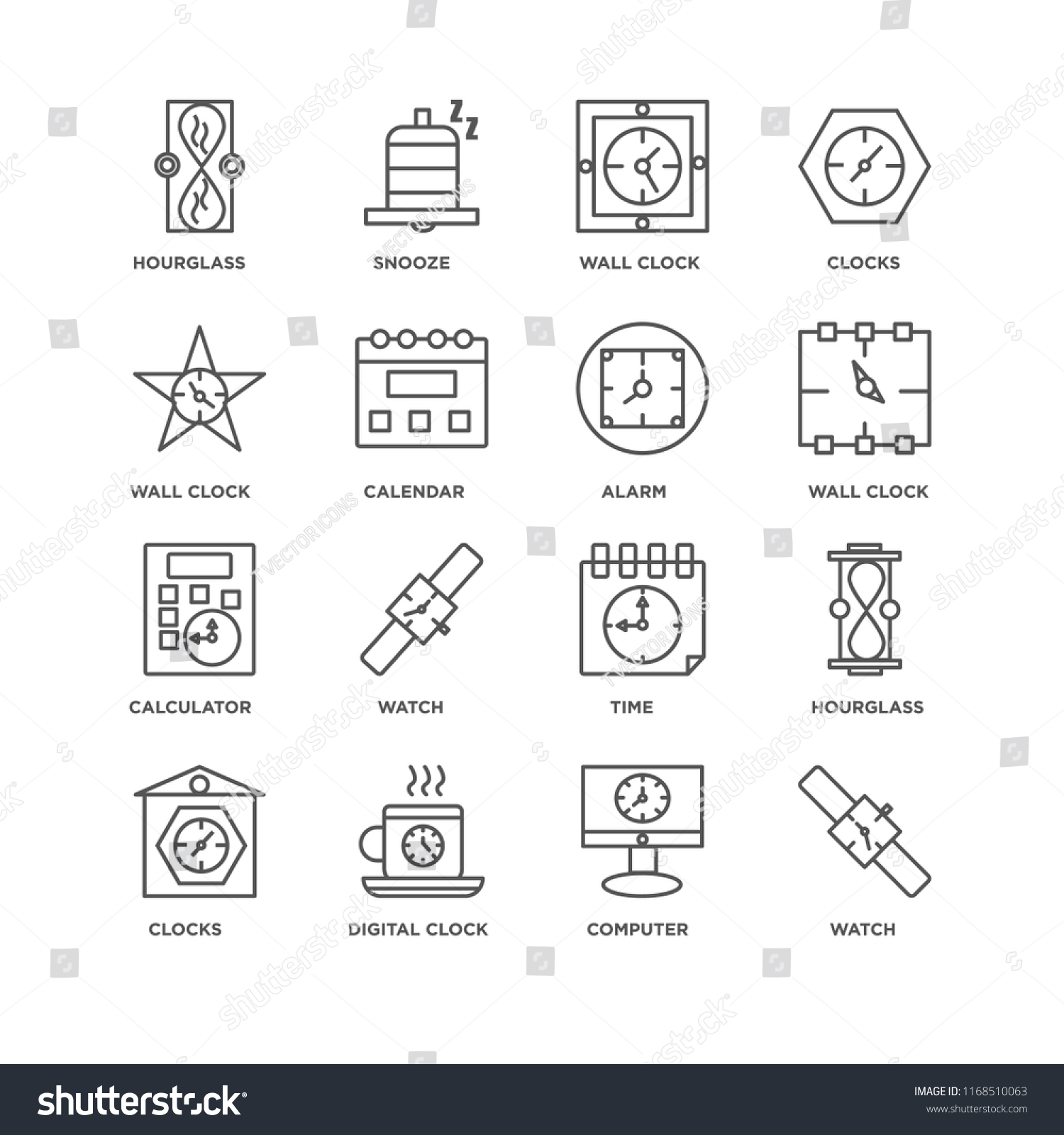 Set 16 Simple Line Icons Such Stock Vector (Royalty Free) 1168510063