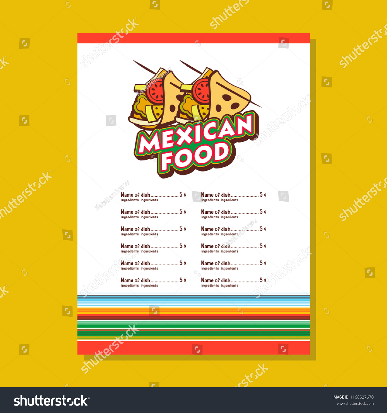 Mexican Restaurant Menu Template Tacos National Stock Vector