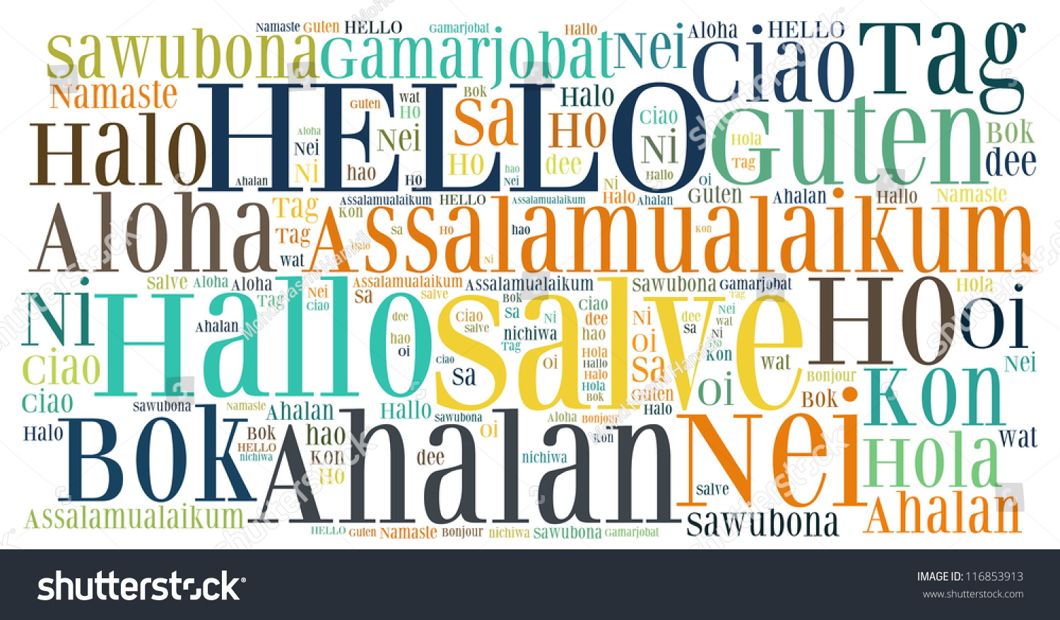 Word Collage Hello Greet People Different Stock Illustration ...