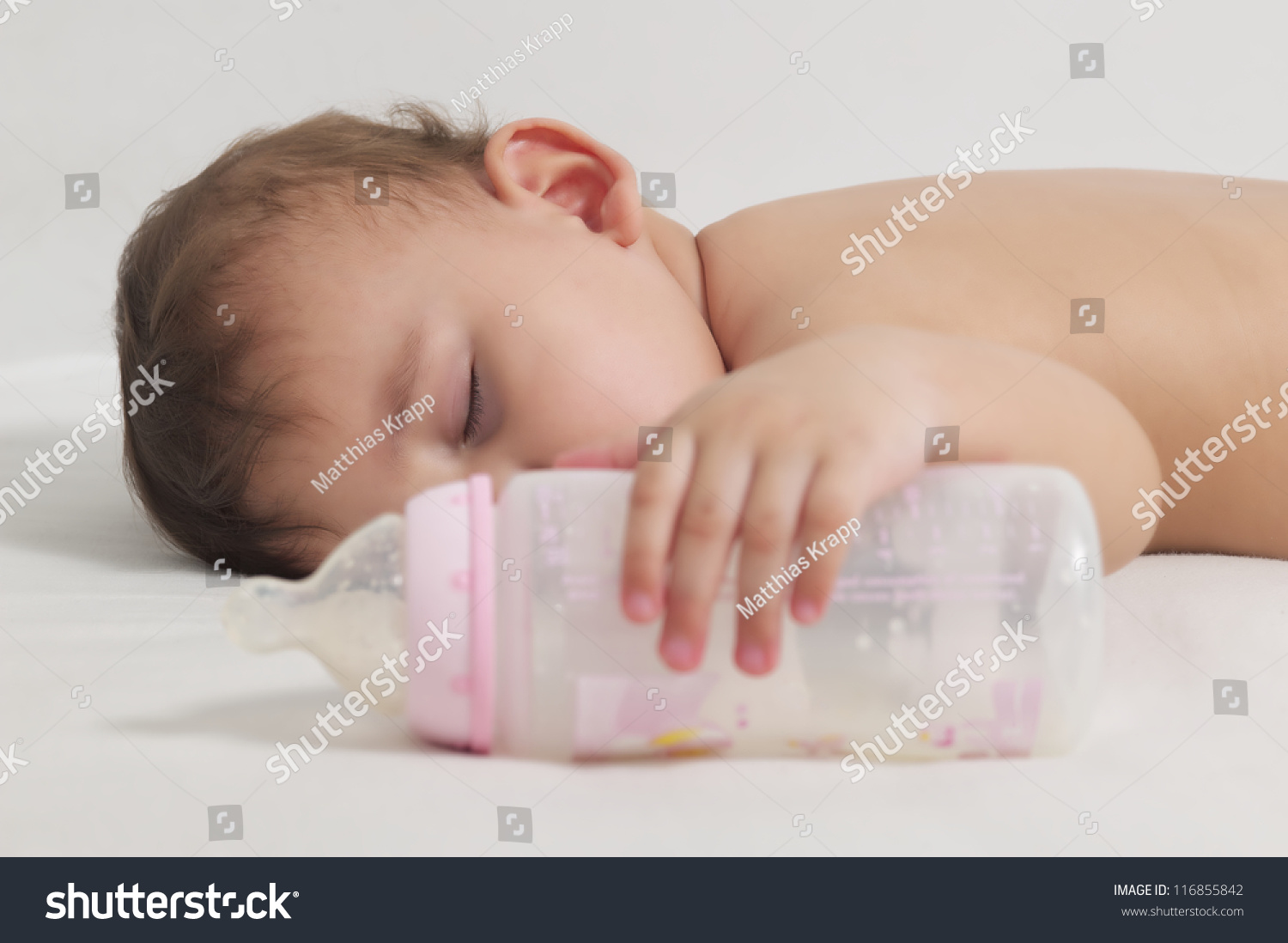 Baby Sleeping After Drinking Here Bottle Stock Photo Edit Now