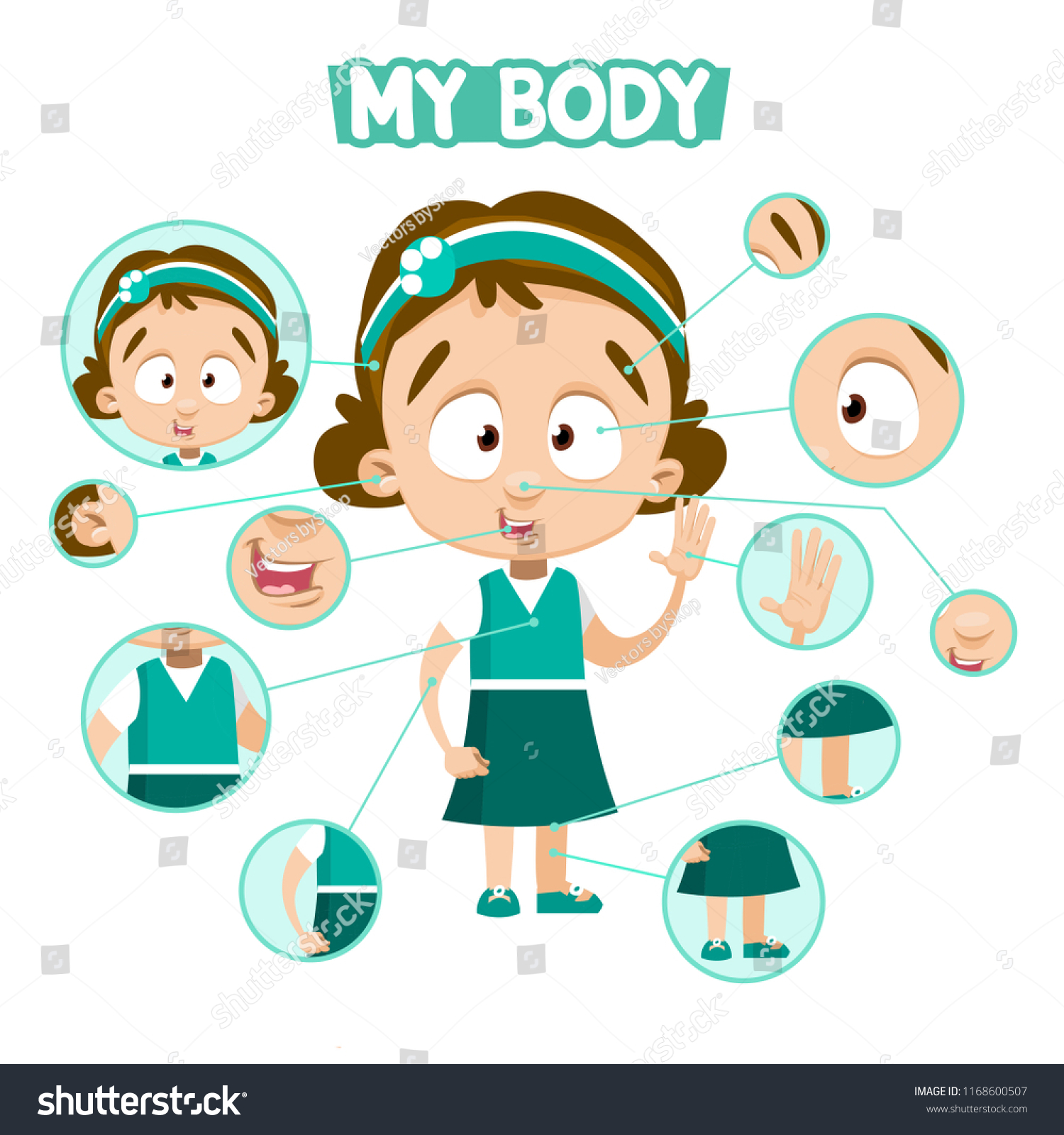Girl Isolated On White Body Parts Stock Vector (Royalty Free ...