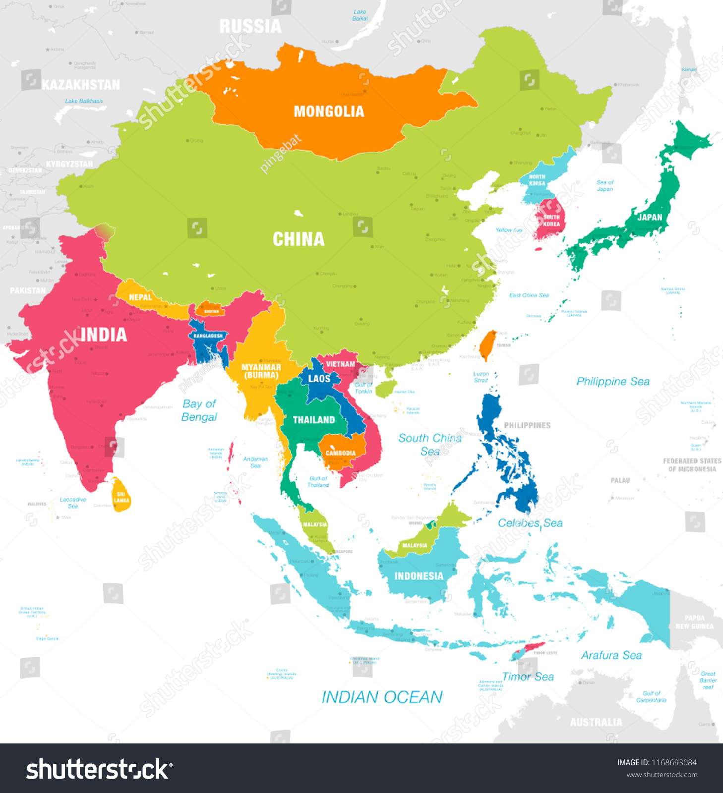 Map Of Asia Countries.Vector Map East Asia Continent Countries Stock Vector Royalty Free