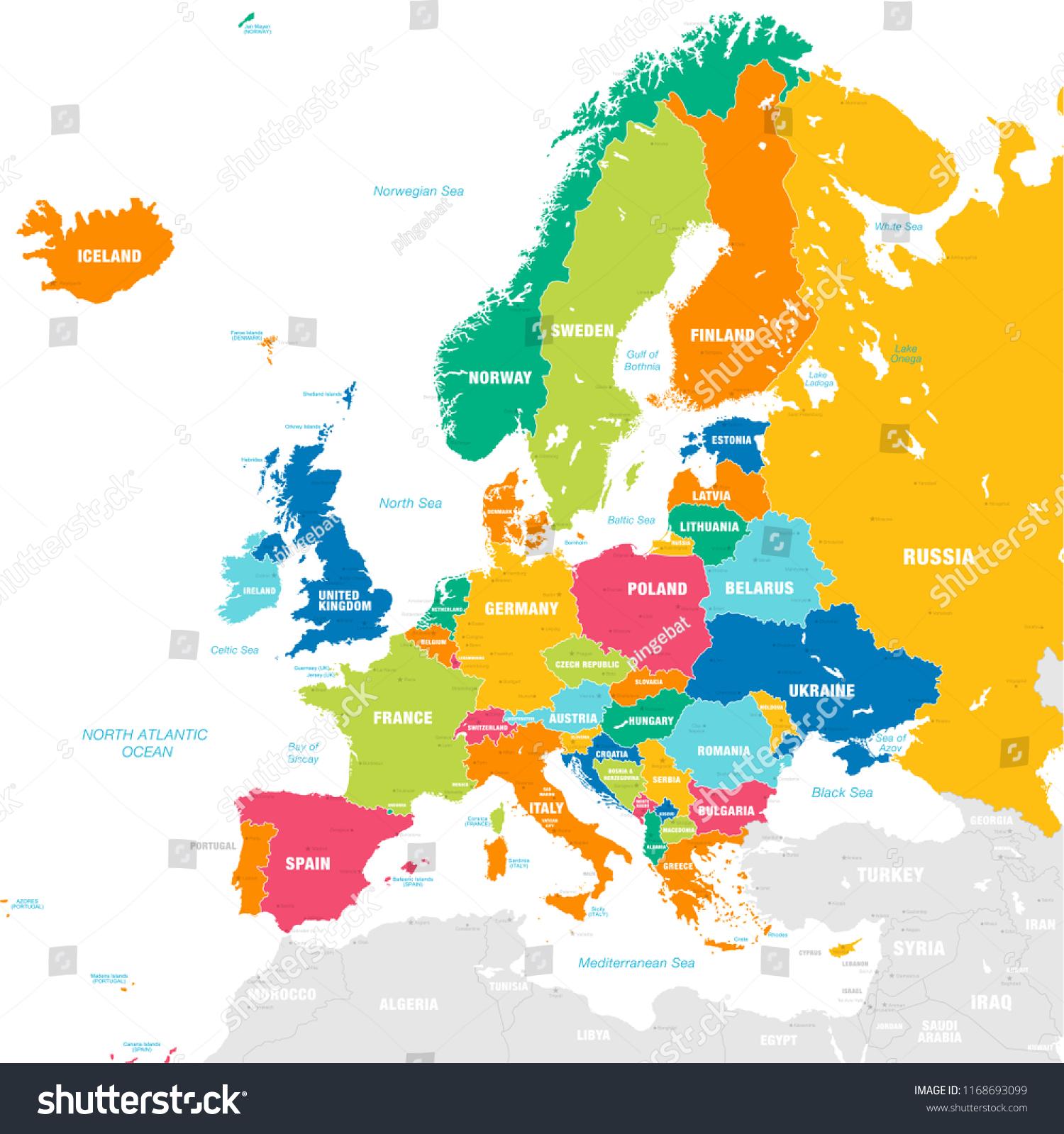 Stockvektor 1168693099 Med Vektorkarta Over Den Europeiska