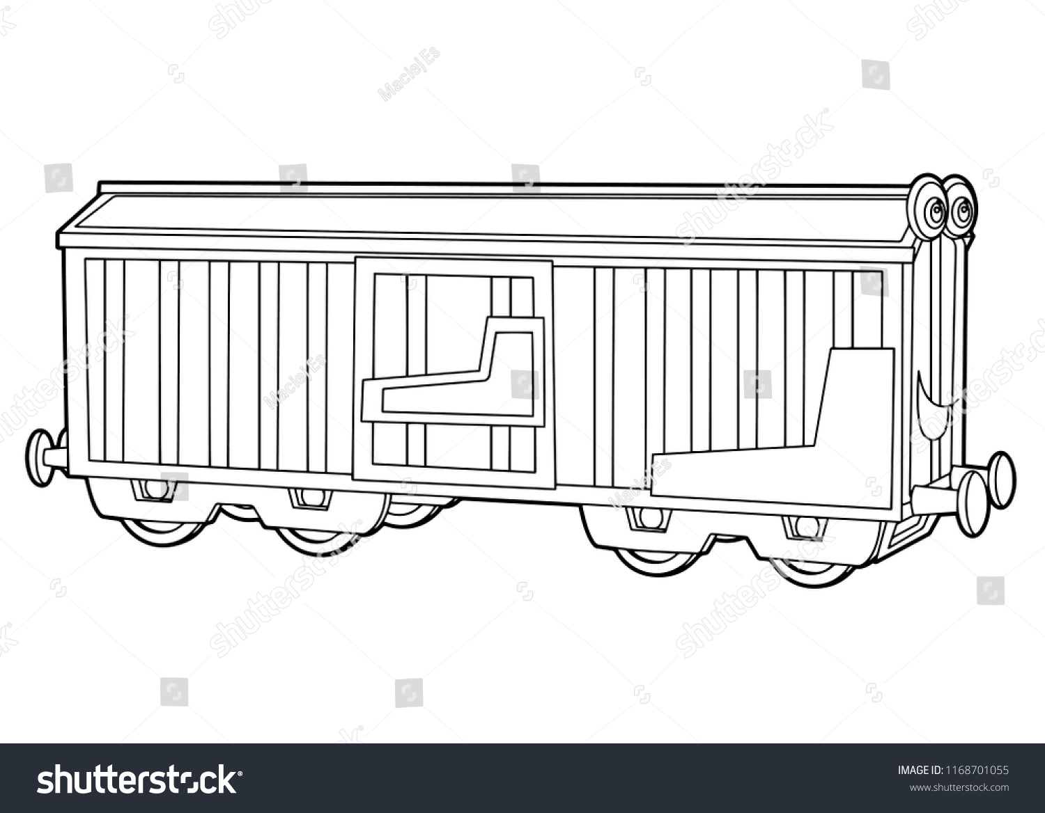 Coloring Page Train Wagon Illustration Children Stock Vector