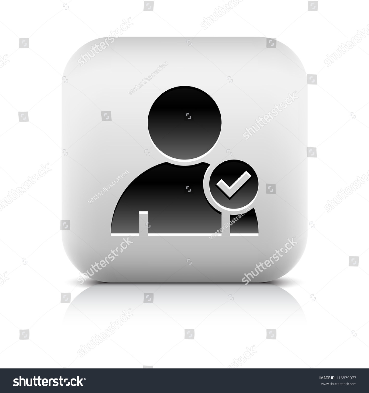 User Profile Sign Web Icon Check Stock Vector Royalty Free