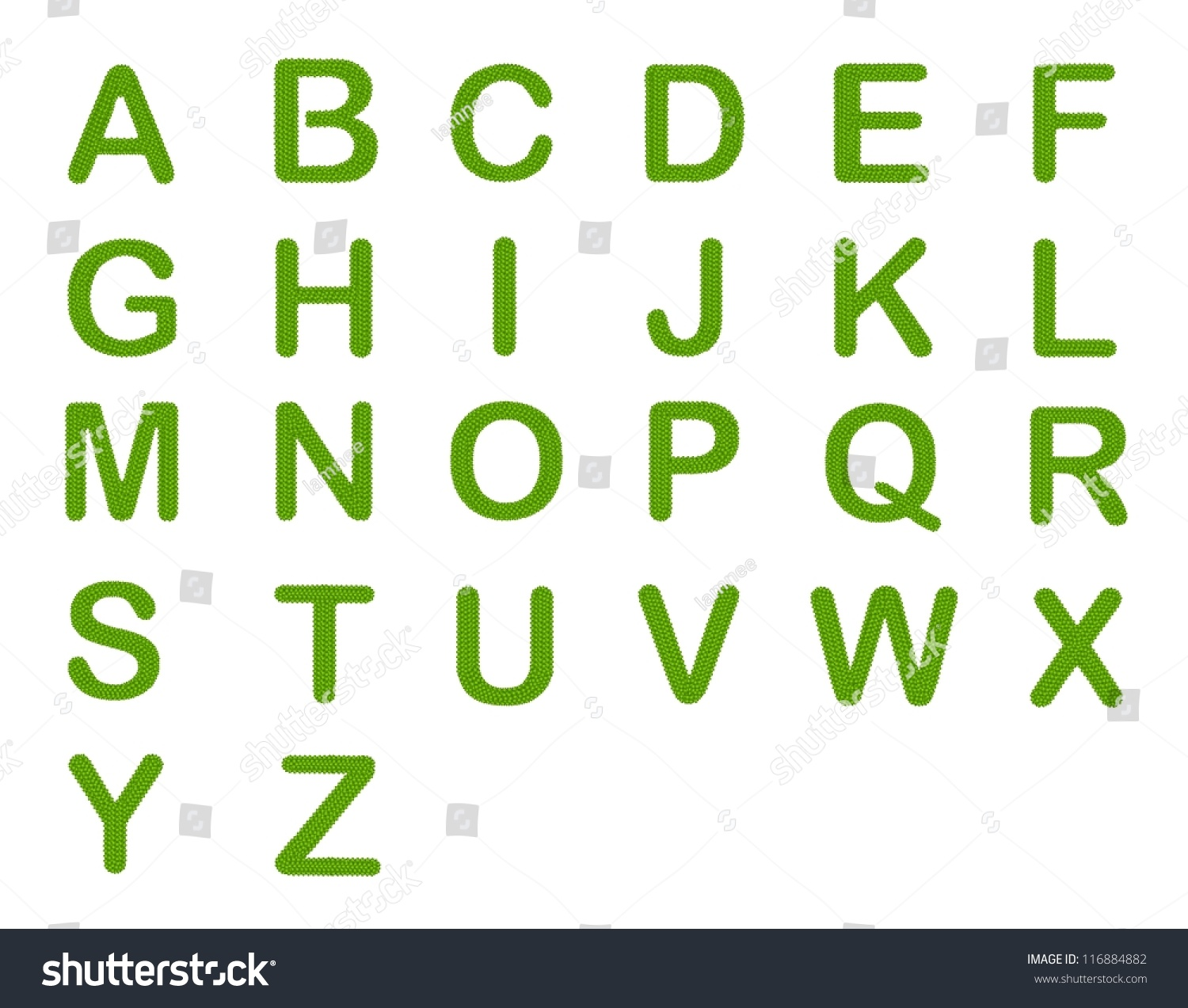 Letter A Z Alphabet Letters Made Of Four Leaf Clover Isolated On White Background
