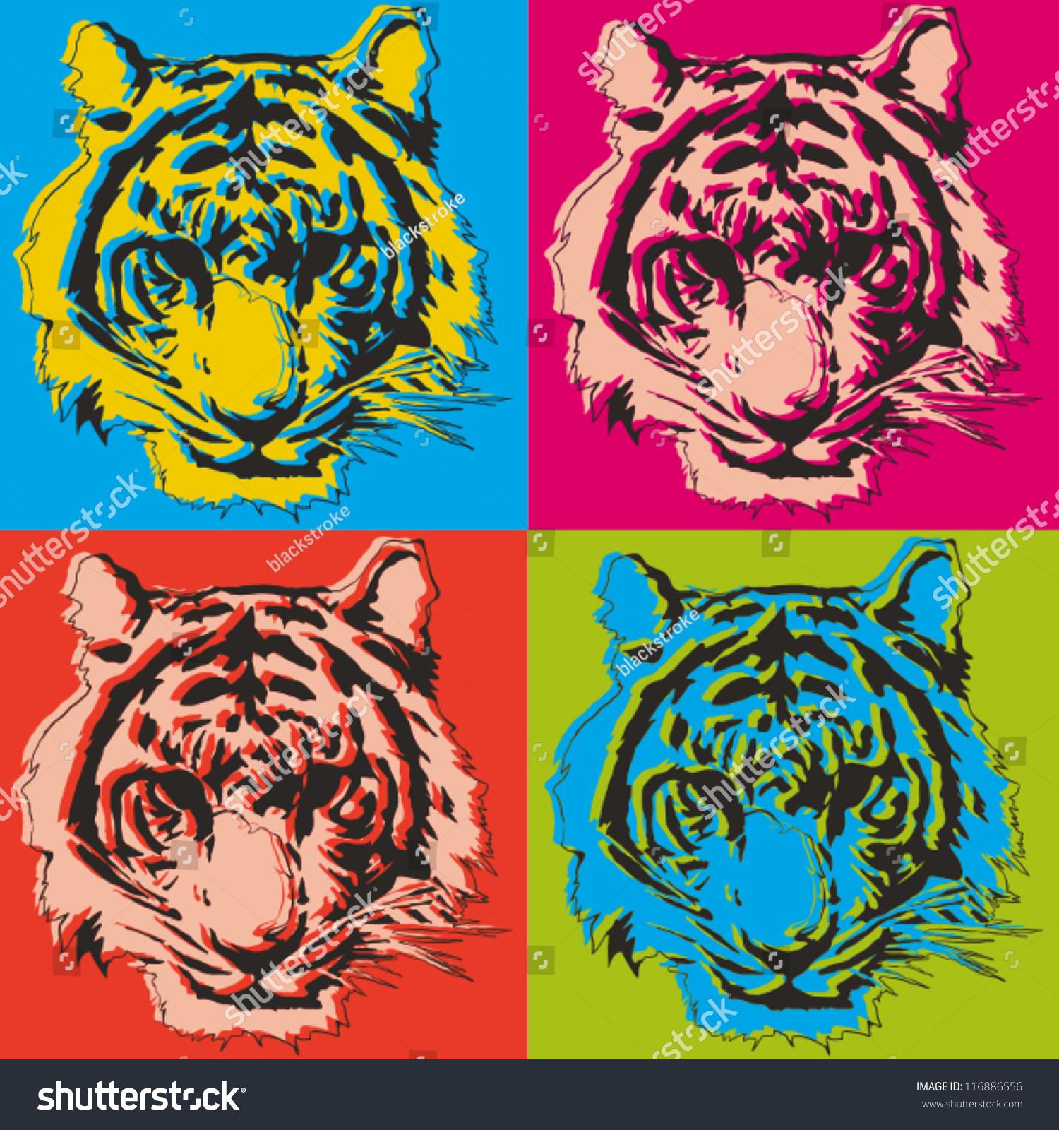 Art Illustration: Tiger Pop Art Illustration Stock Vector 116886556
