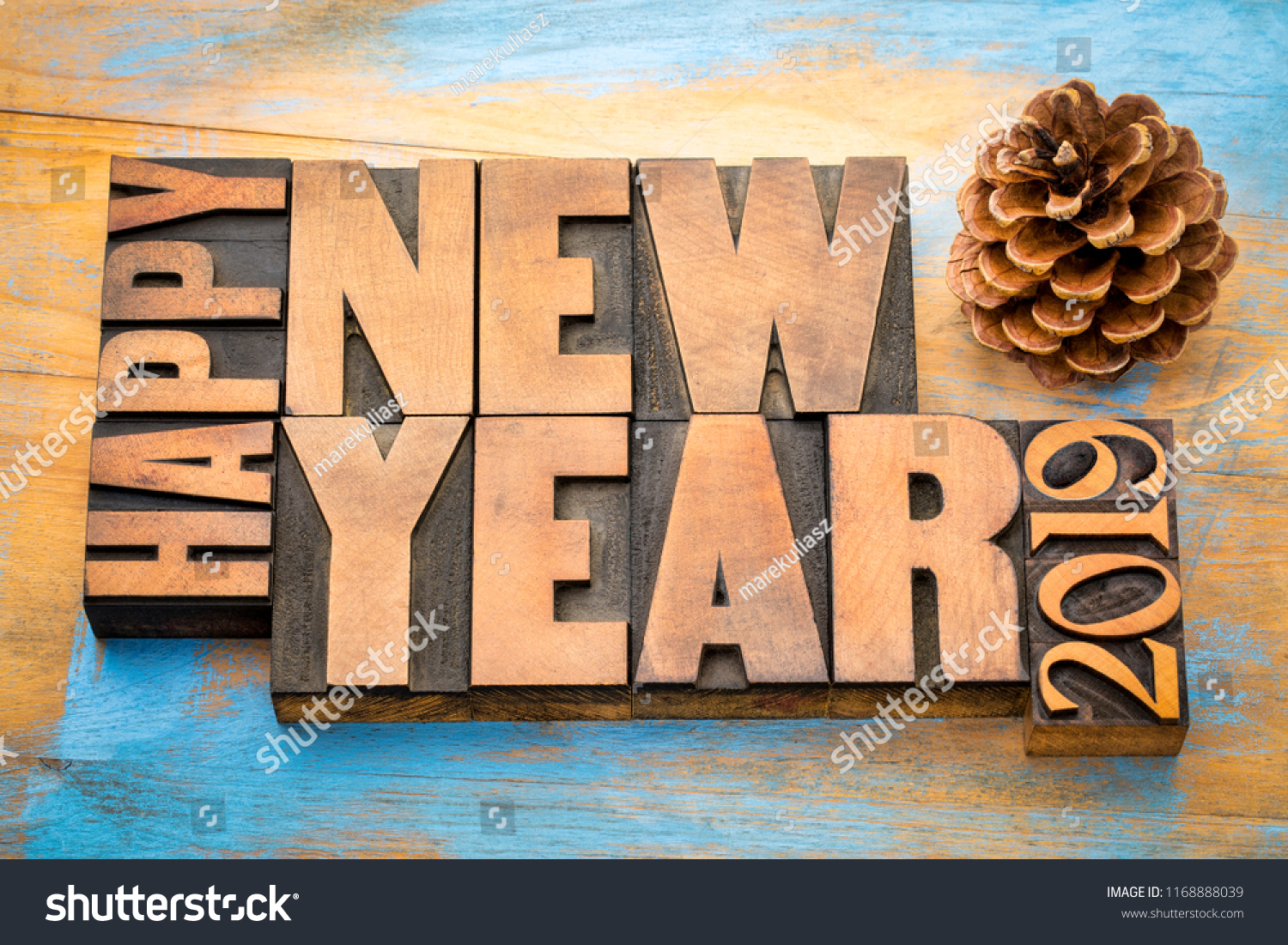 happy new year 2019 greeting card word abstract t in vintage letterpress wood type blocks