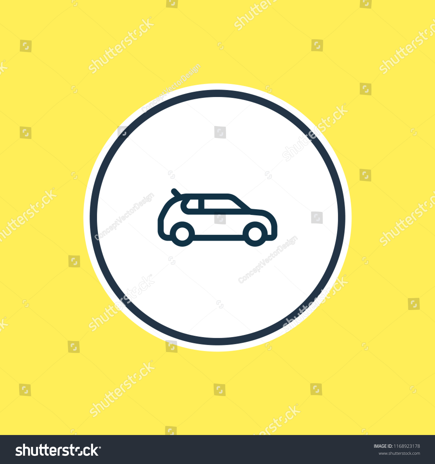 Vector Illustration Compact Car Icon Line Stock Vector Royalty Free