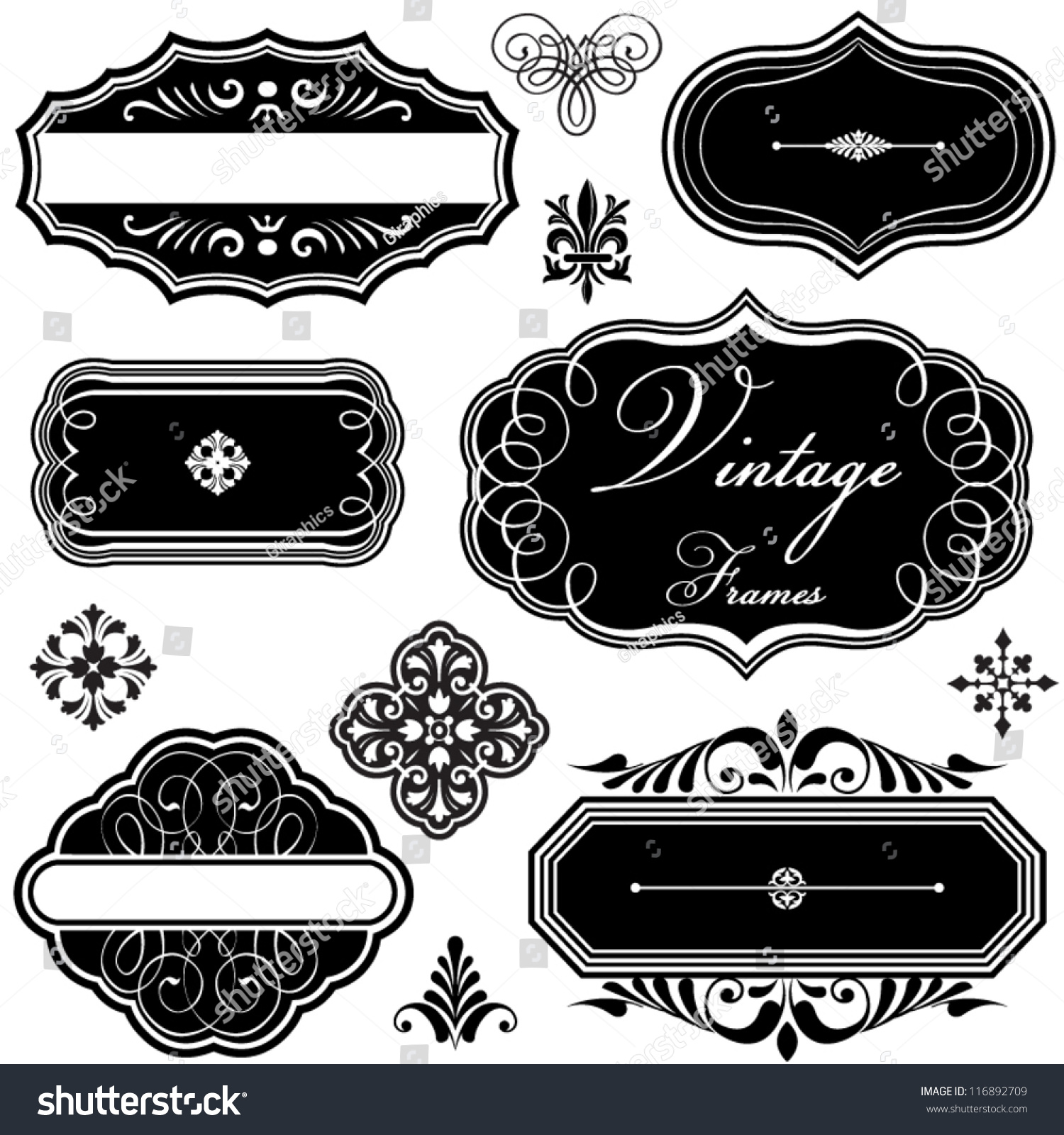 Vintage style ornaments - Fancy Vintage Frames And Ornaments Set Of Vintage Style Frames And Scroll Ornaments