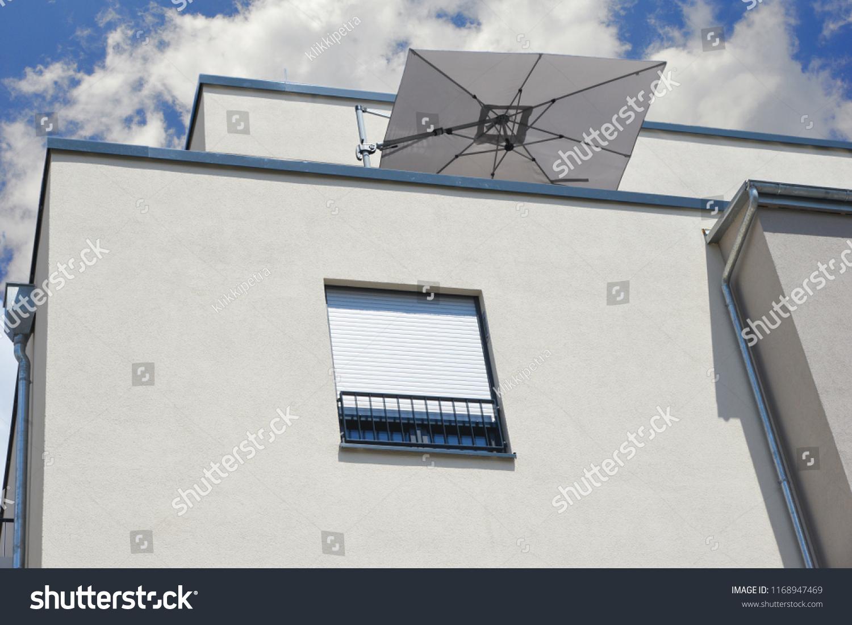 Modern Flat Roof Balcony Attic Sunshade Stock Photo (Edit