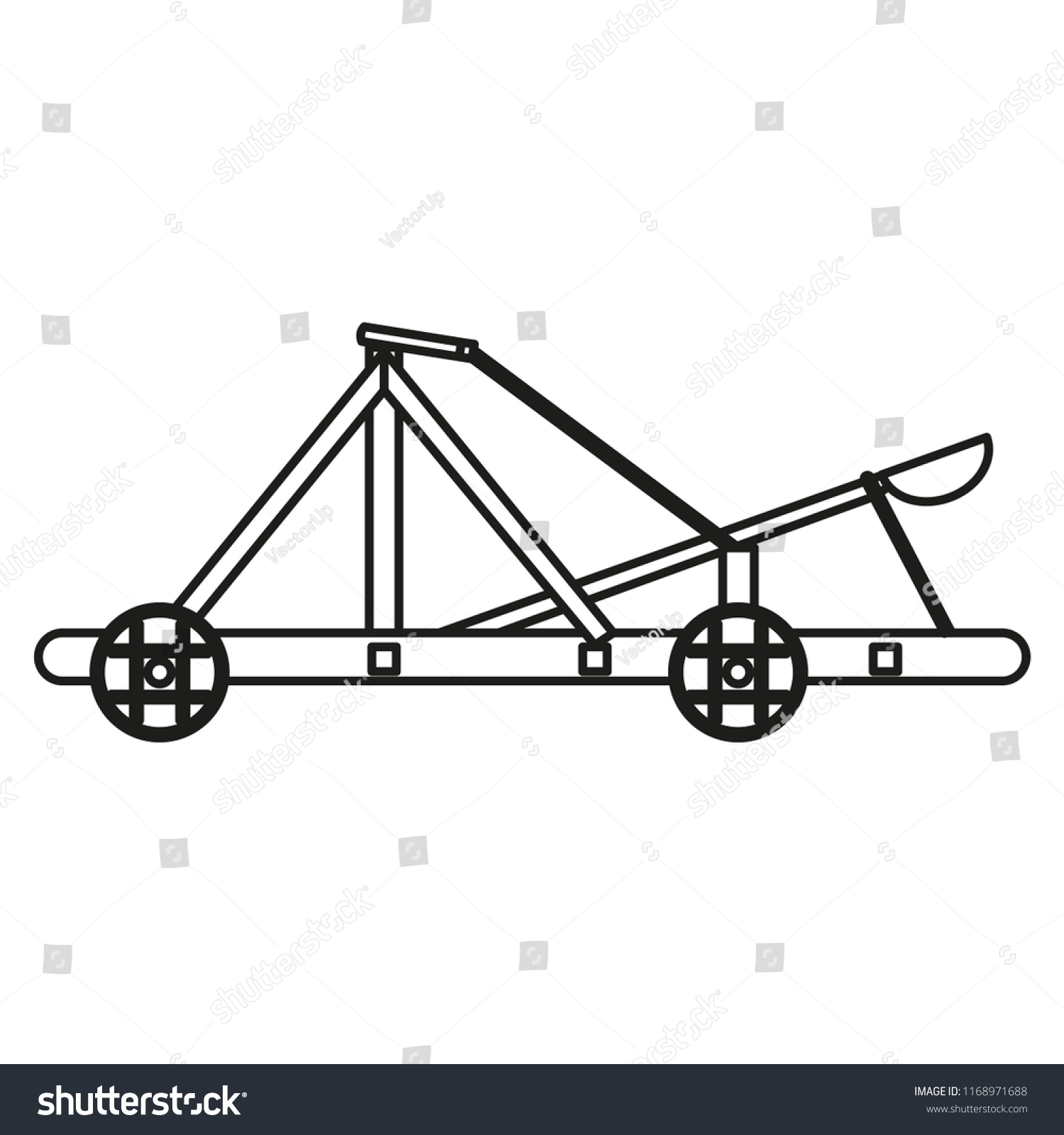 Catapult Line Icon Isolated On White Stock Vector Royalty Free Diagram Background Outline Thin Pictogram Art Logo