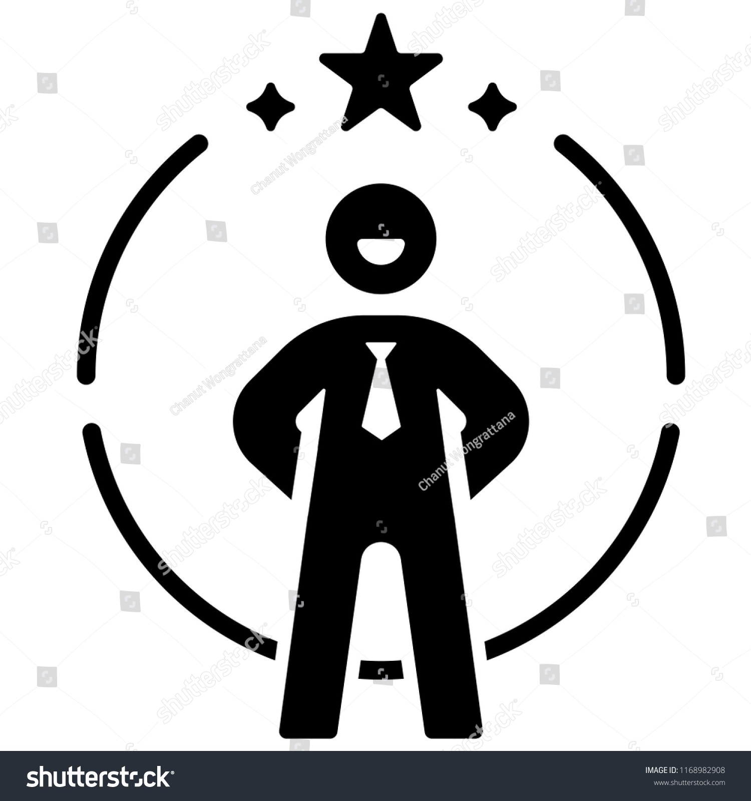 Person icon with star on circle line vector illustration in solid color design