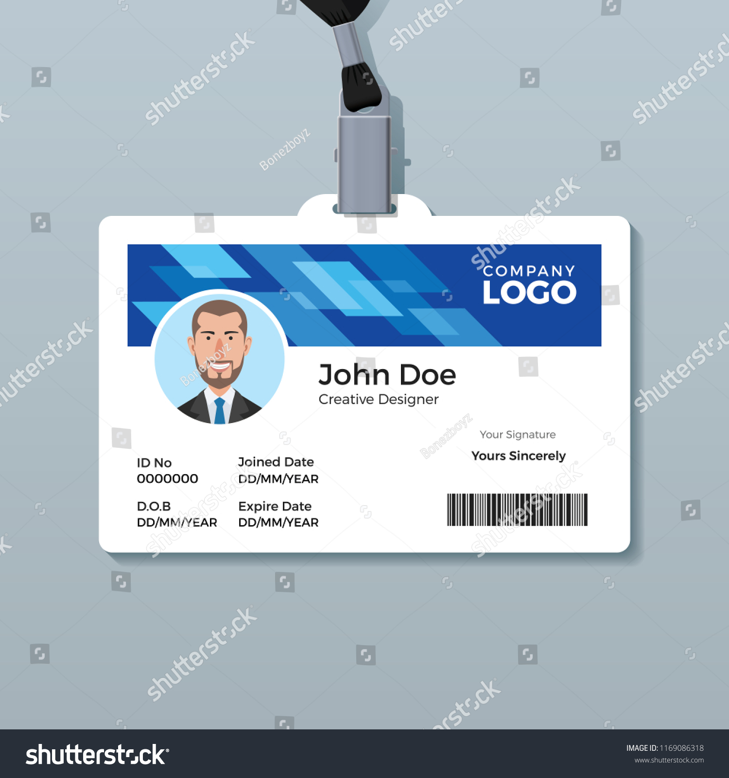 Blue Office Id Badge Design Template Stock Vector (Royalty