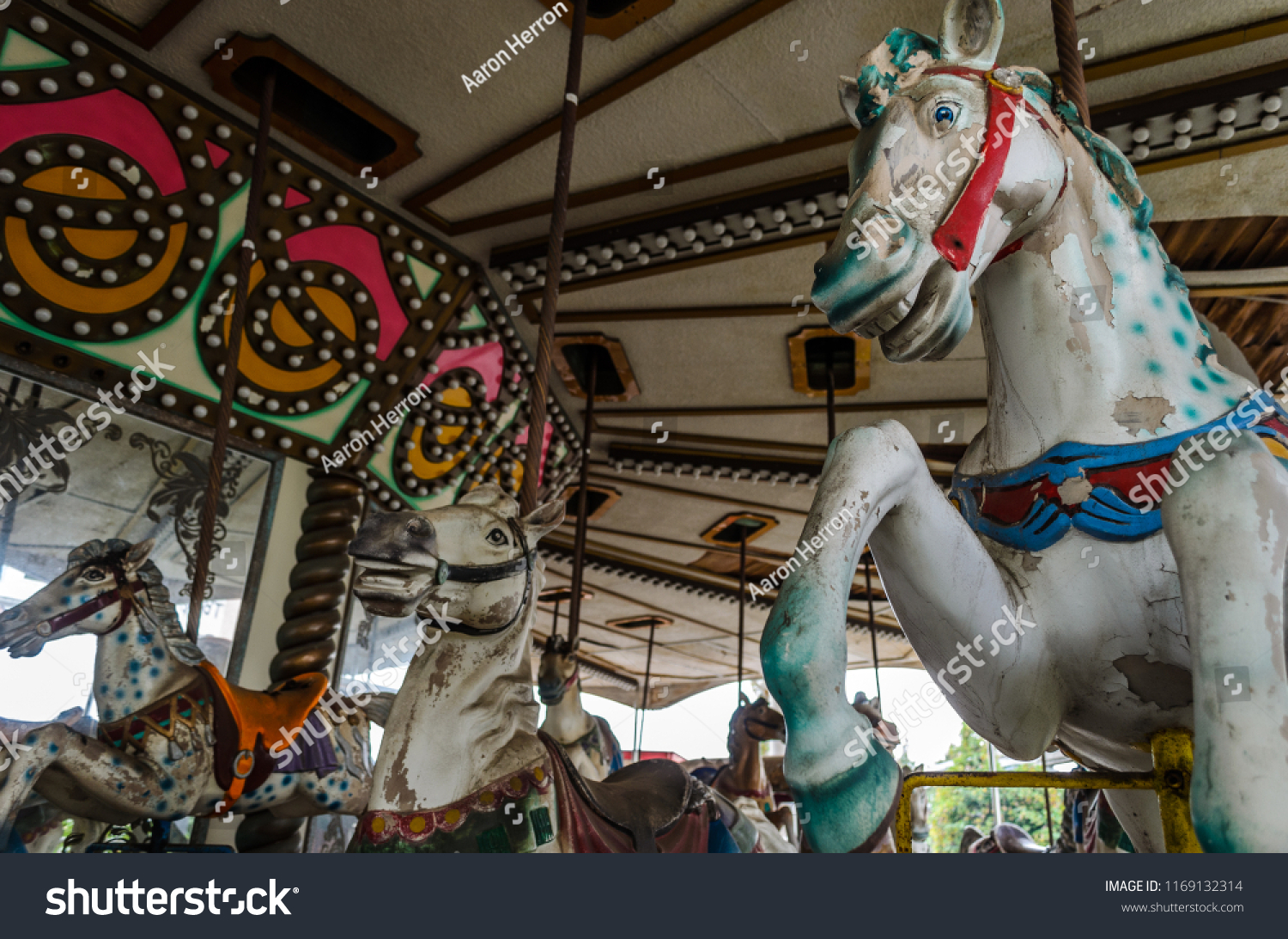 Old Horse Carousel Abandoned Theme Park Stock Photo Edit Now 1169132314