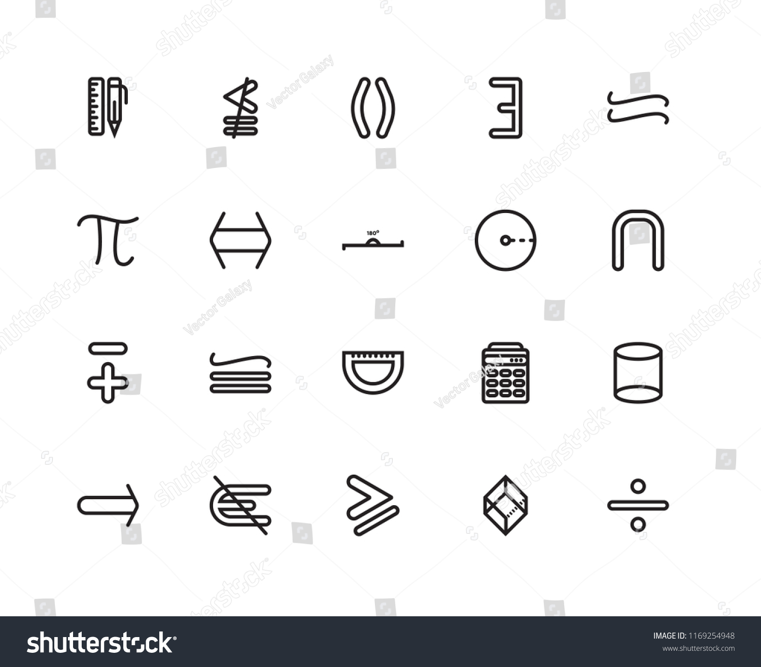 Set 20 Linear Icons Such Intersection Stock Vector Royalty Free