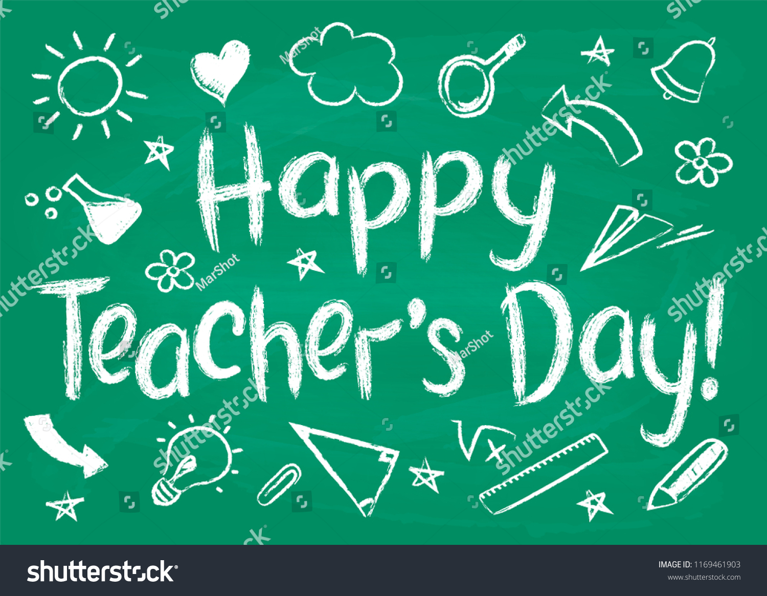 Happy teachers day greeting card placard stock vector royalty free happy teachers day greeting card or placard on green chalk board in sketchy style with handdrawn m4hsunfo