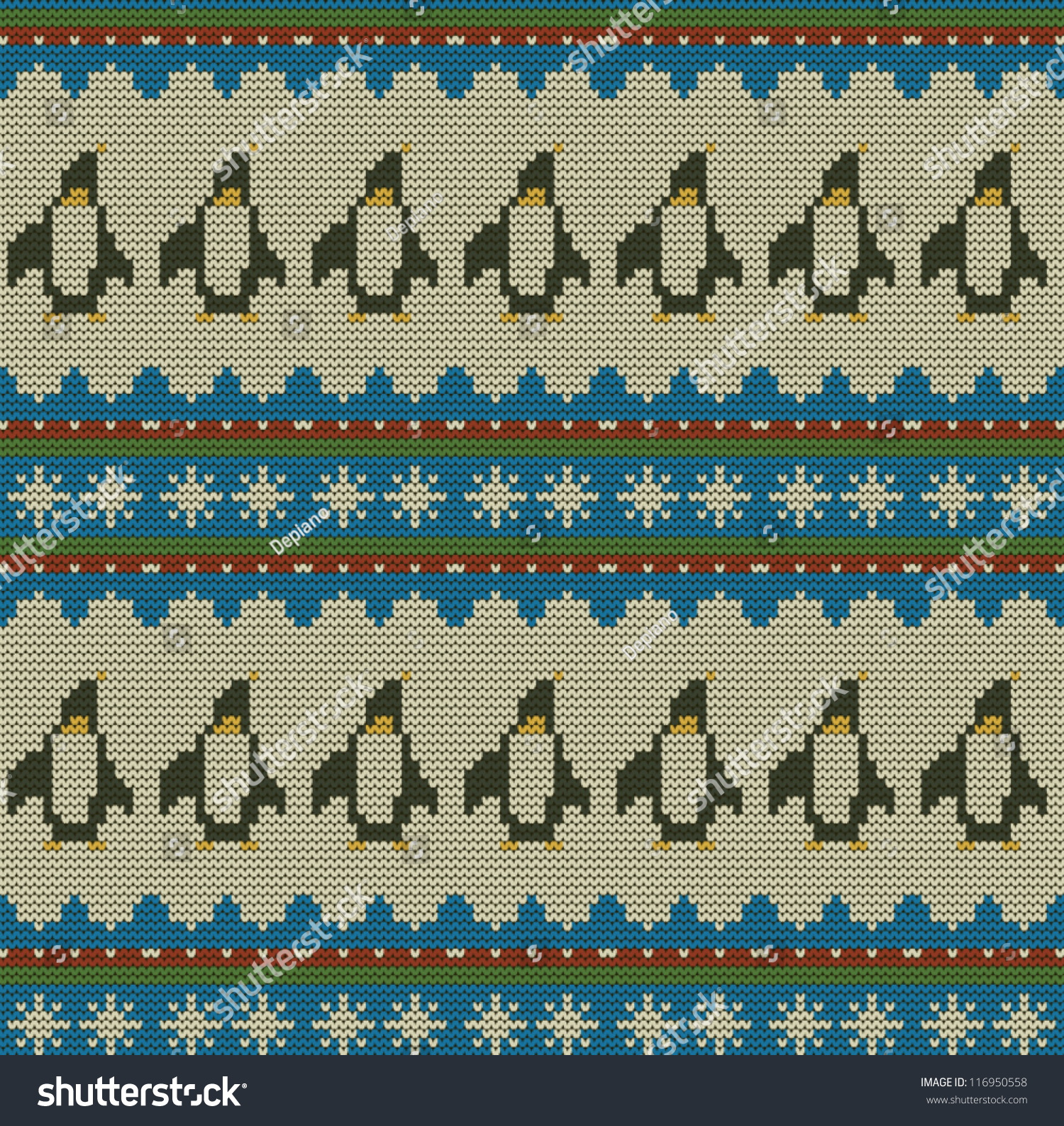 Merry Christmas Seamless Knit Pattern Penguins Stock Vector ...
