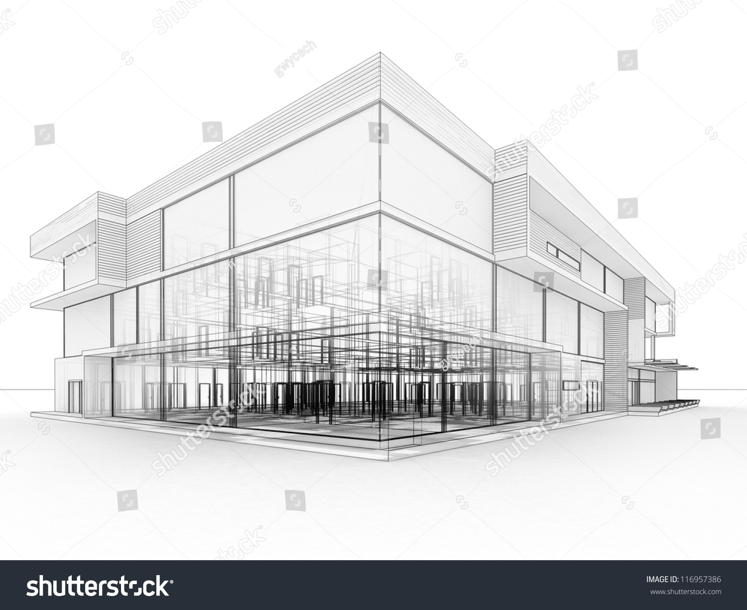 Blueprint Design Modern Office Building Architects Stock