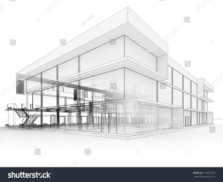 Modern Building Drawing Blueprint Design Of Modern Office Building