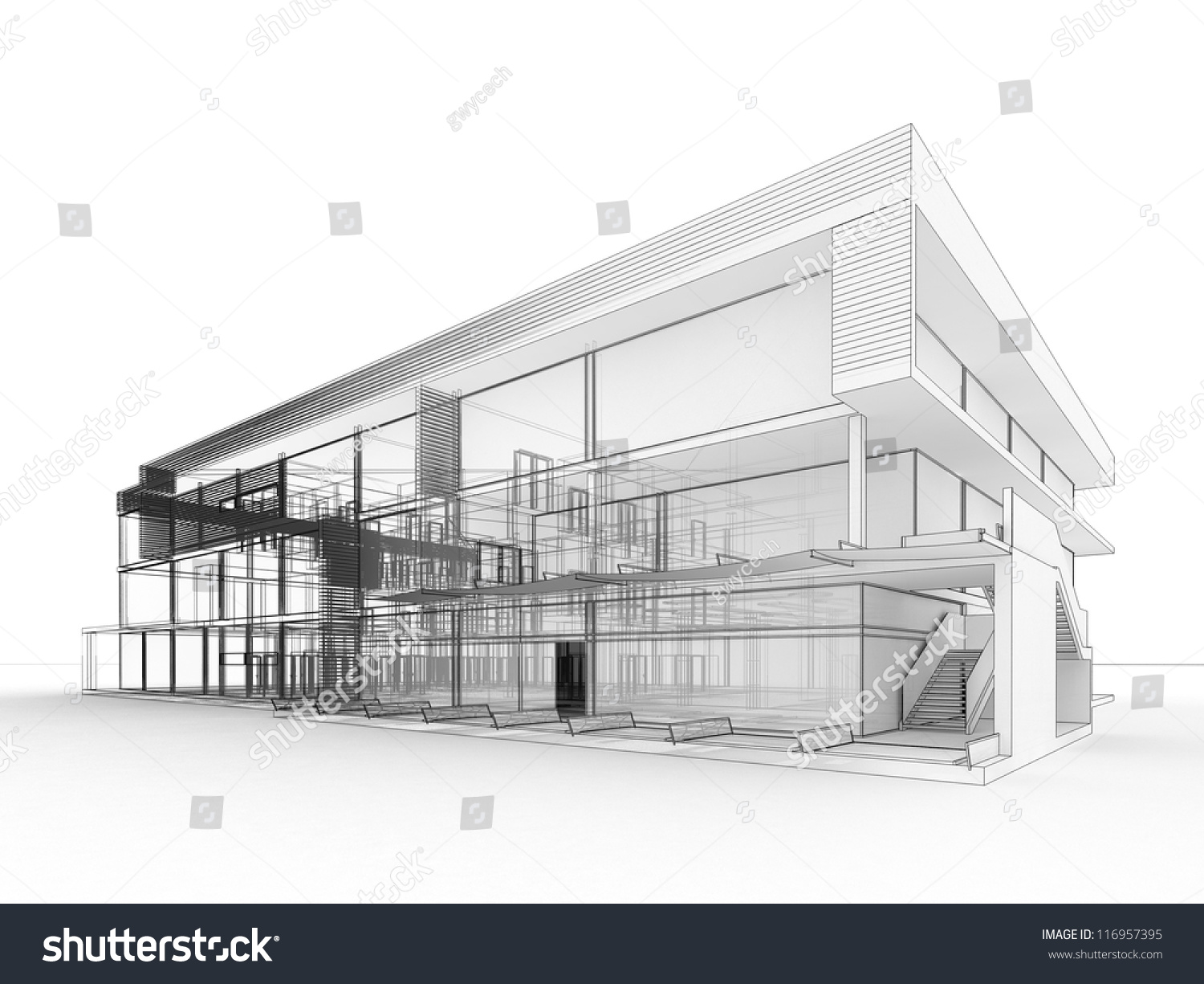 Blueprint design modern office building architects stock for Home building blueprints