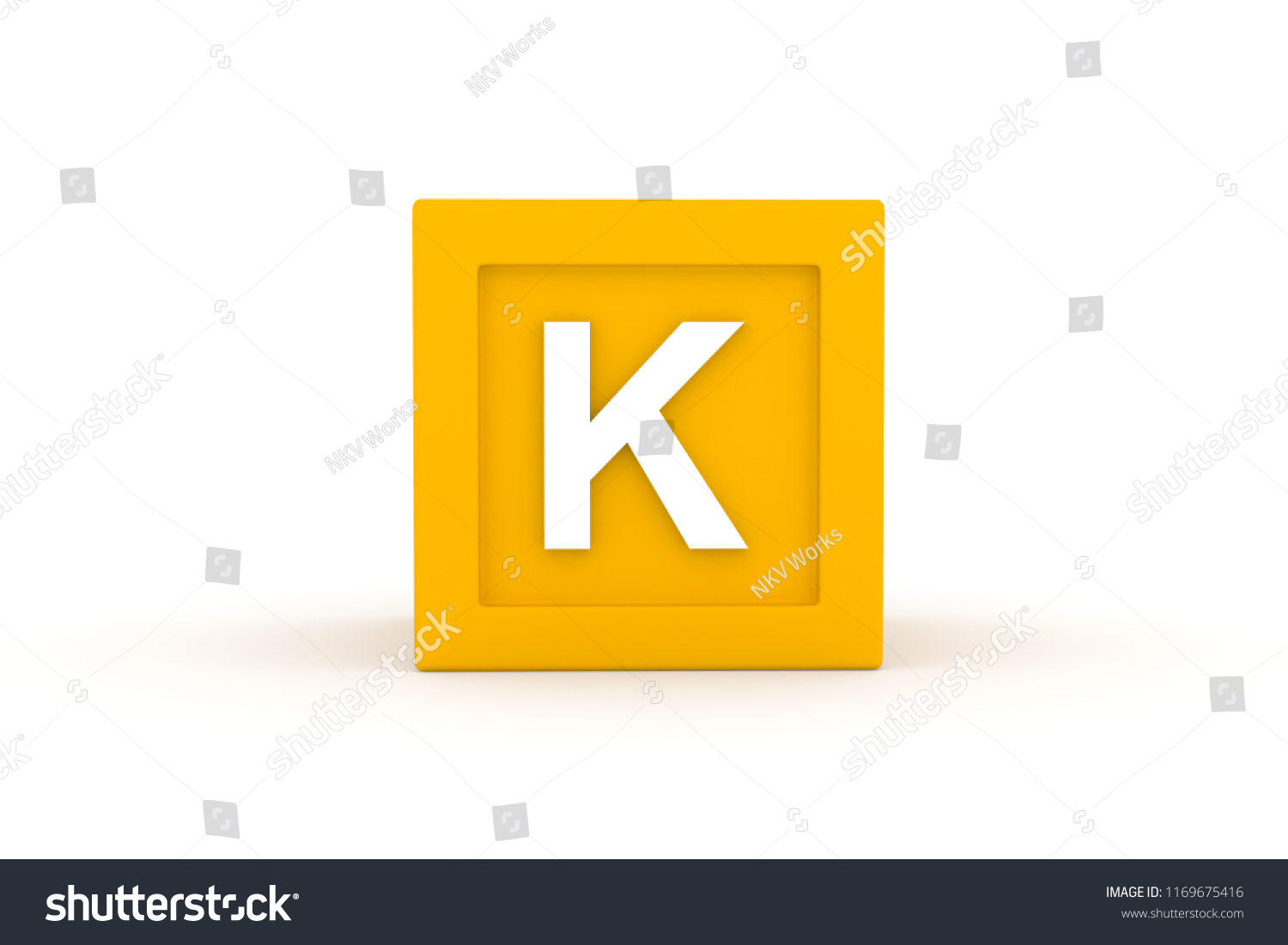 letter k uppercase with yellow color block on white background 3d illustration
