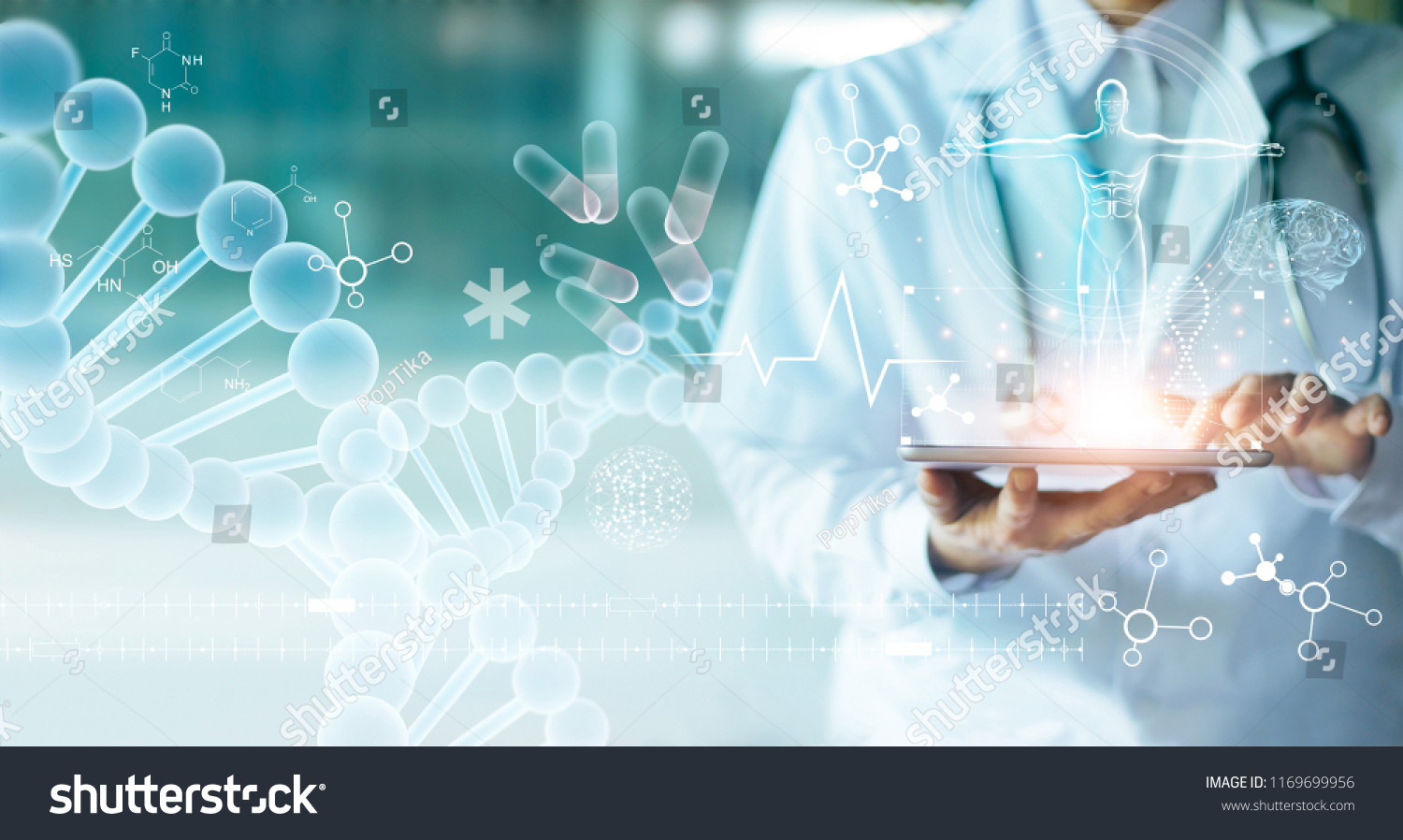 Medicine doctor touching electronic medical record on tablet. DNA. Digital healthcare and network connection on hologram modern virtual screen interface, medical technology and network concept. #1169699956
