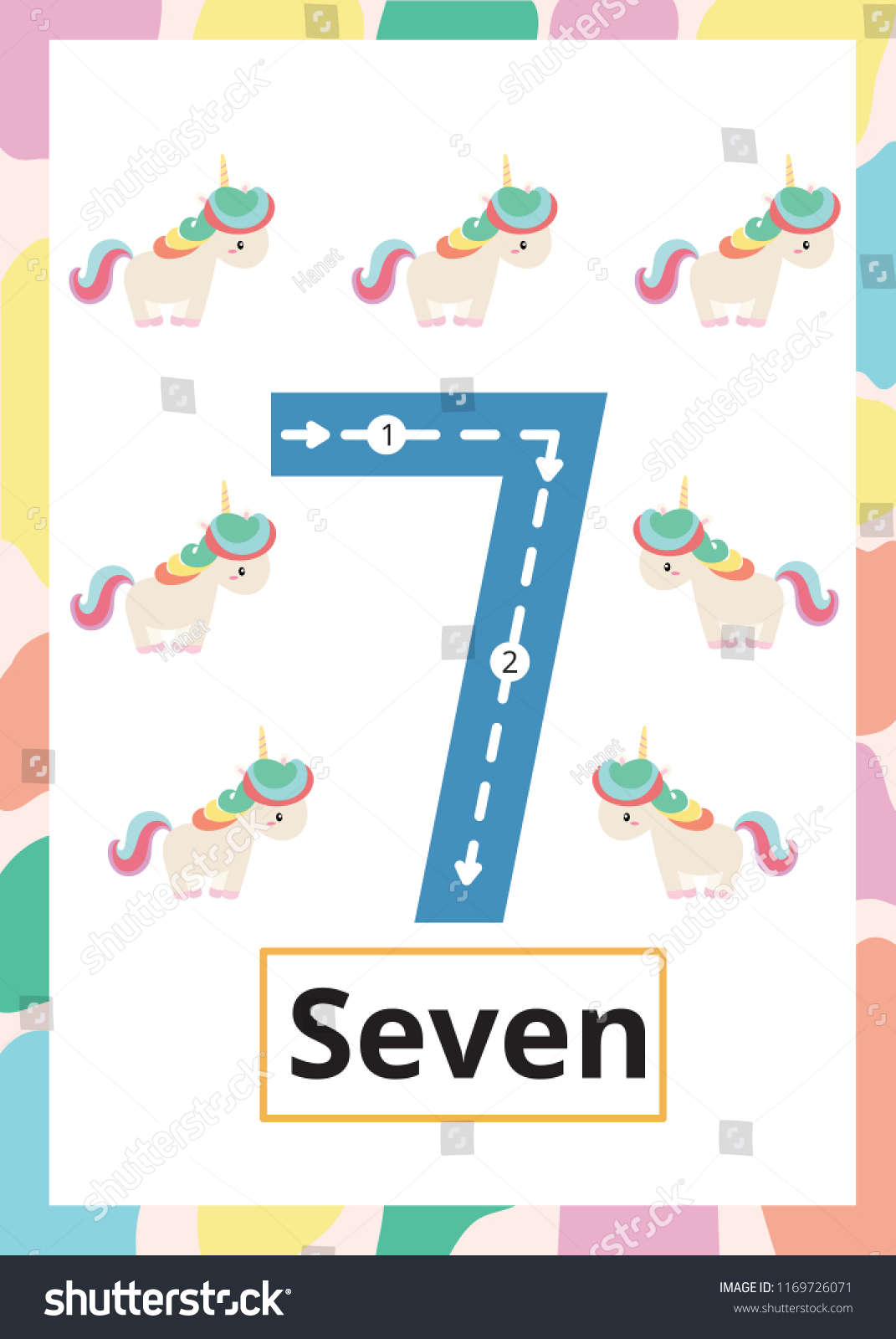 Number Tracing Worksheet Seven 7 Kid Stock Vector (Royalty Free ...