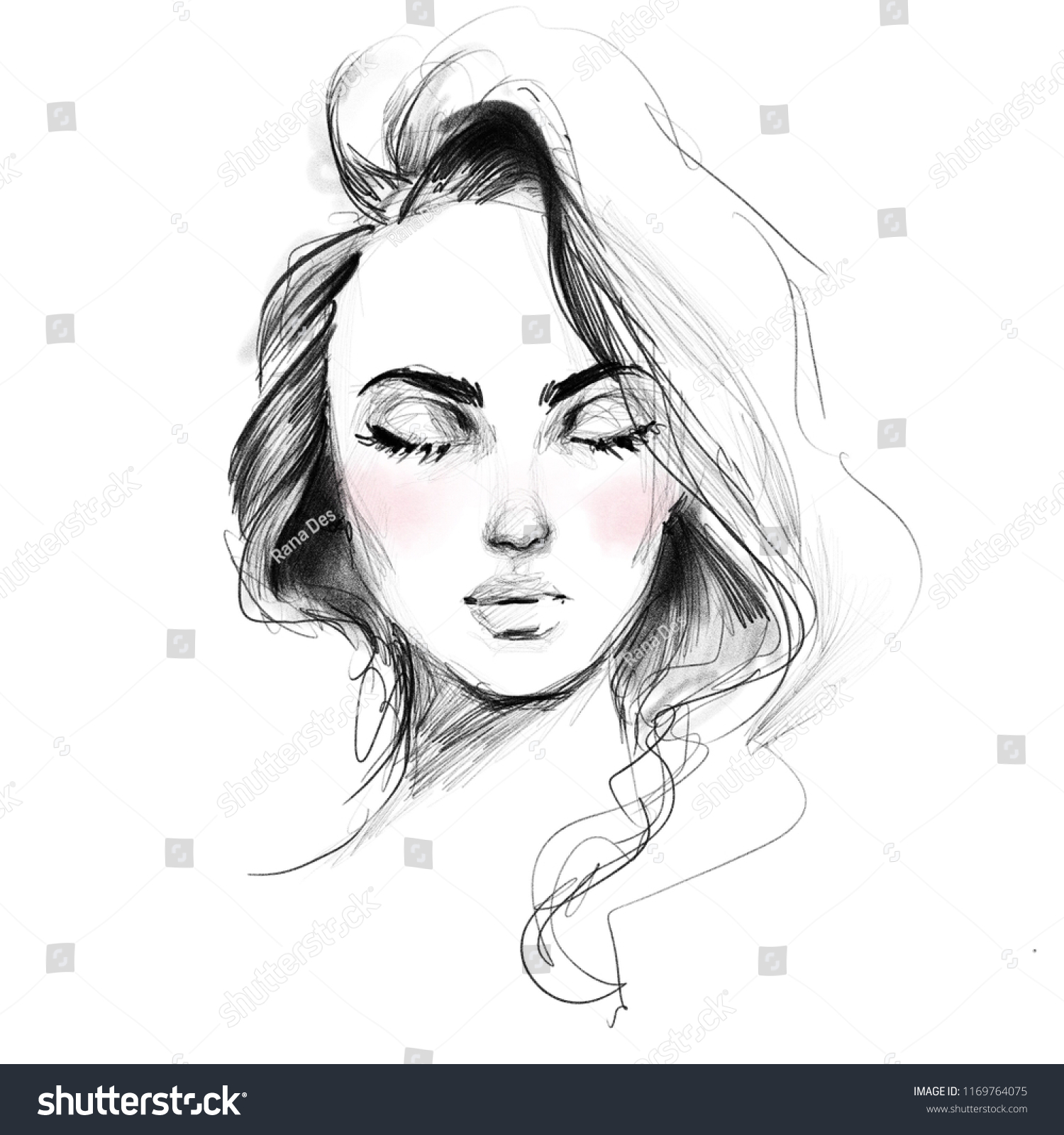 Beautiful girl face closed eyes black stock illustration