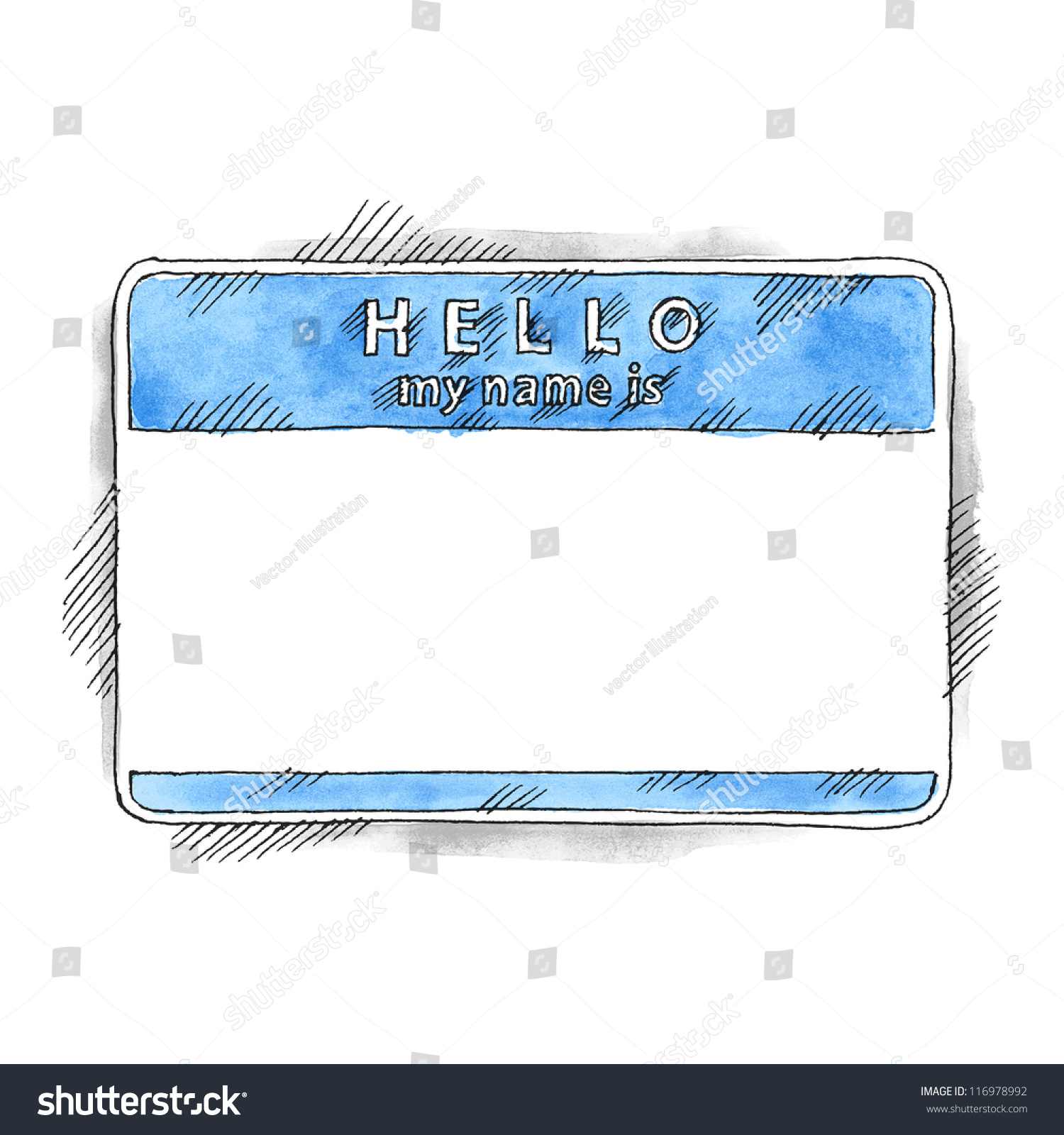 Blue name tag sticker HELLO my name is on white background. Blank ...