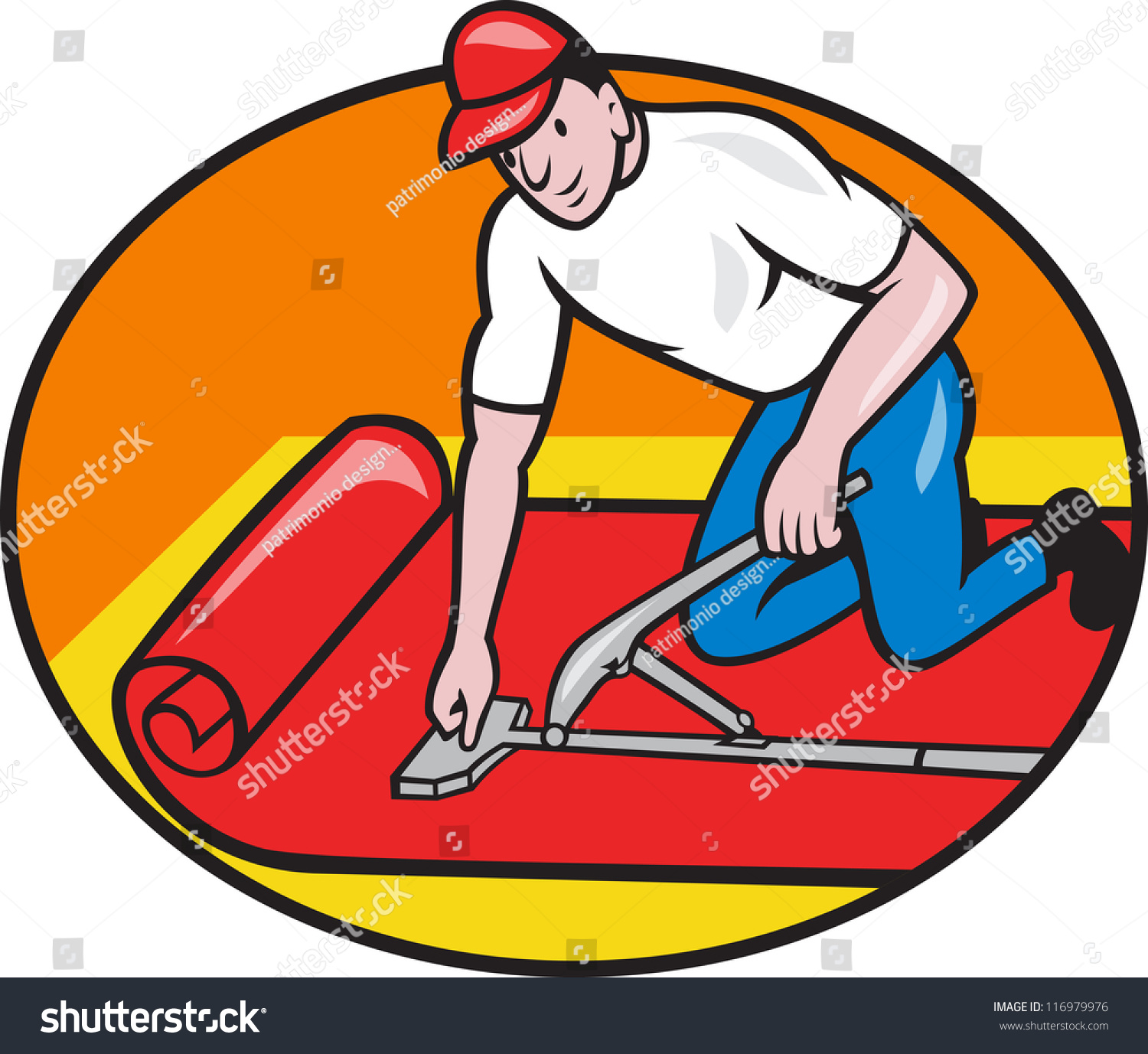 Illustration carpet layer fitter laying down stock for Cartoon carpet