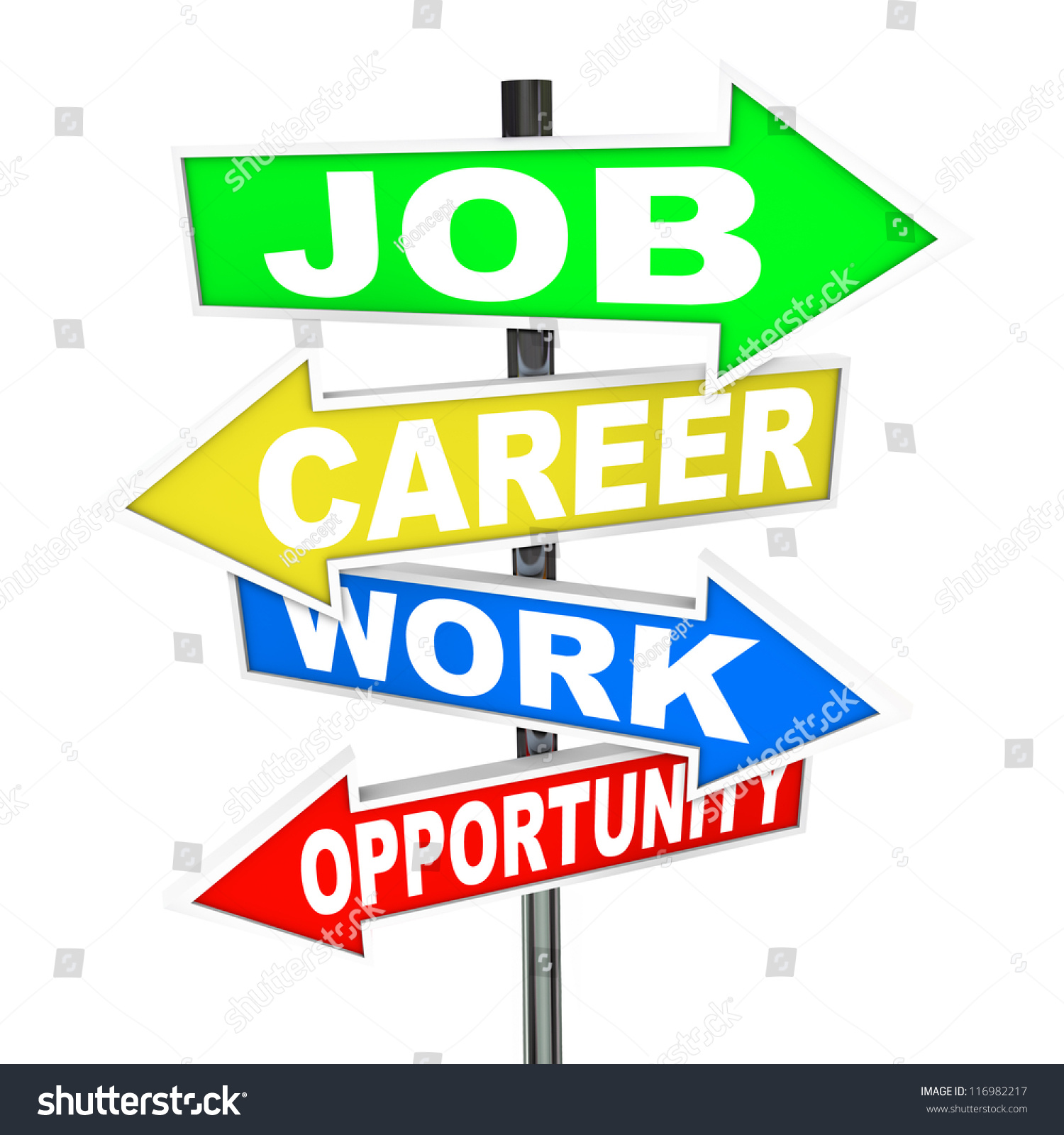 words job career work opportunity on stock illustration  the words job career work and opportunity on colorful road signs arrows pointing