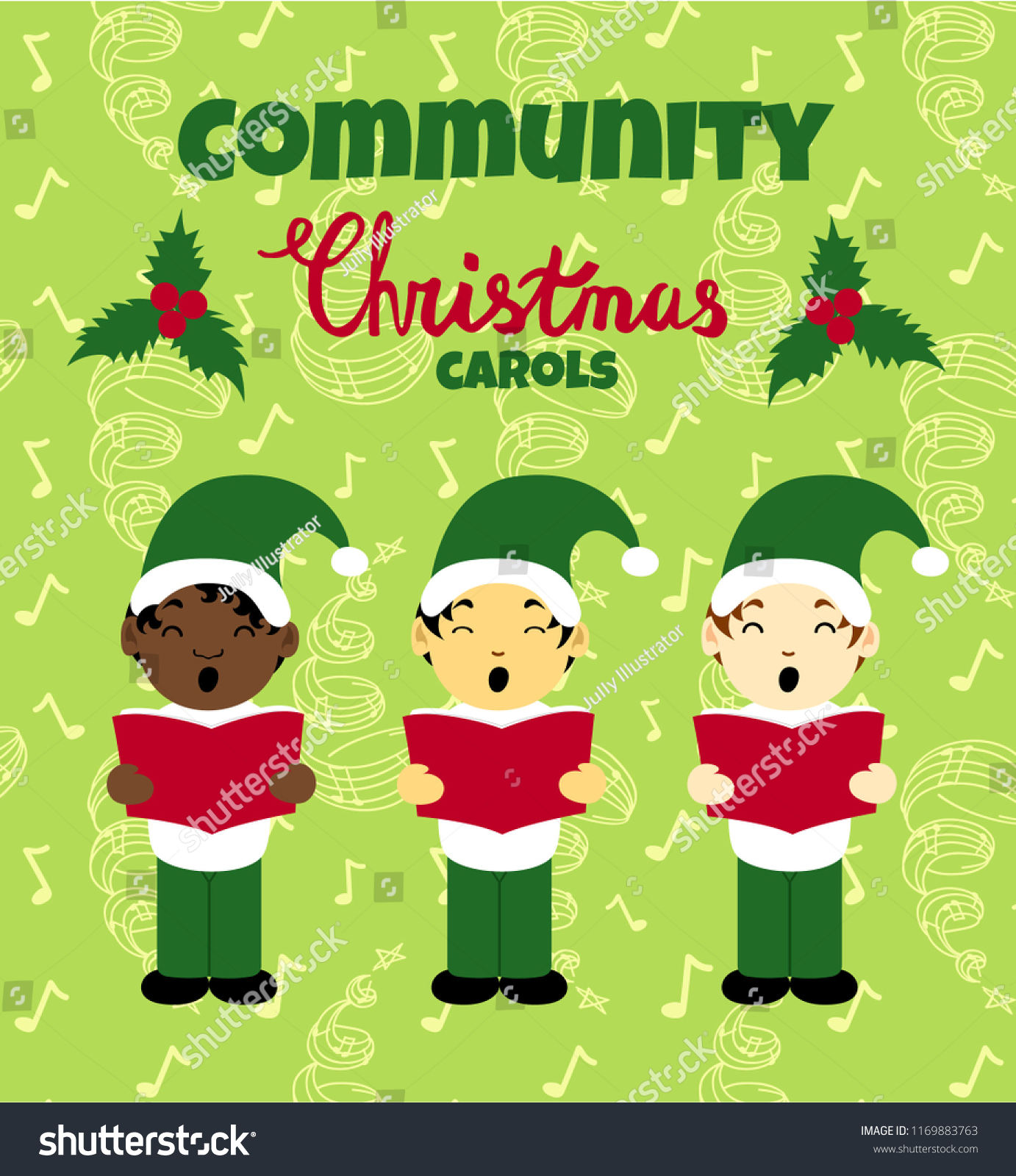 Community Christmas Carols Poster Caroling Multinational Stock ...