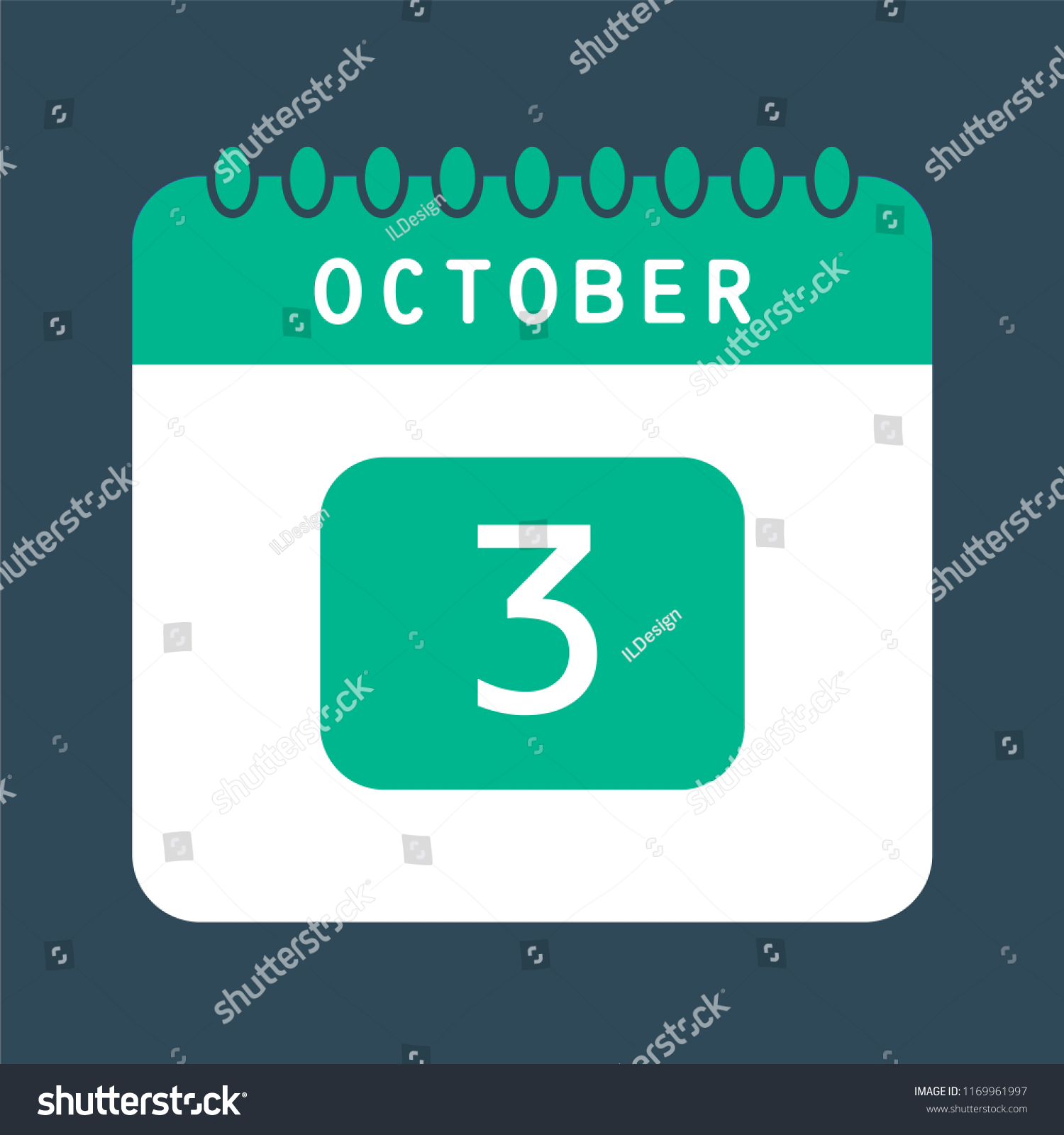 Flat Icon Calendar 3rd October Isolated Stock Vector (Royalty Free