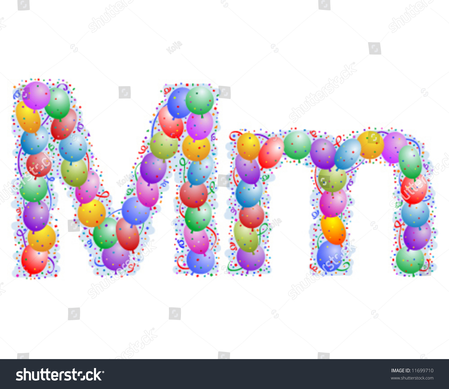 Balloons Confetti Letter M You Can Stock Vector (Royalty Free