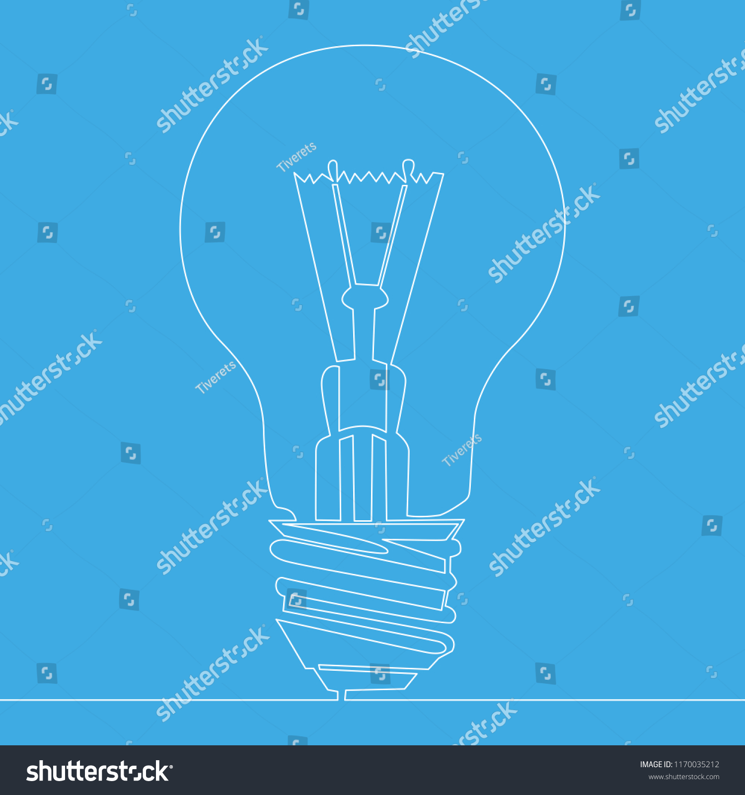Continuous One Line Drawing Light Bulb Stock Illustration 1170035212 Lightbulbsymbolcircuitdiagram Symbol Circuit Diagram Business Idea Isolated On Blue Background