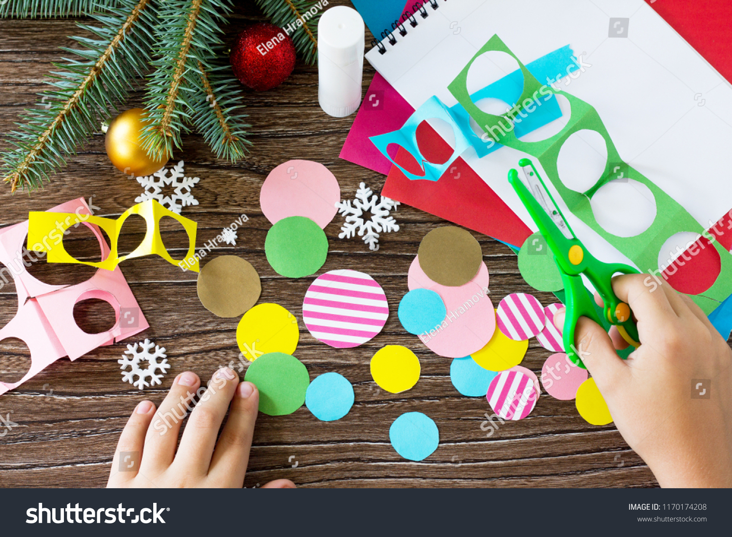 Child Cuts Out Details Christmas Tree Stock Photo Edit Now