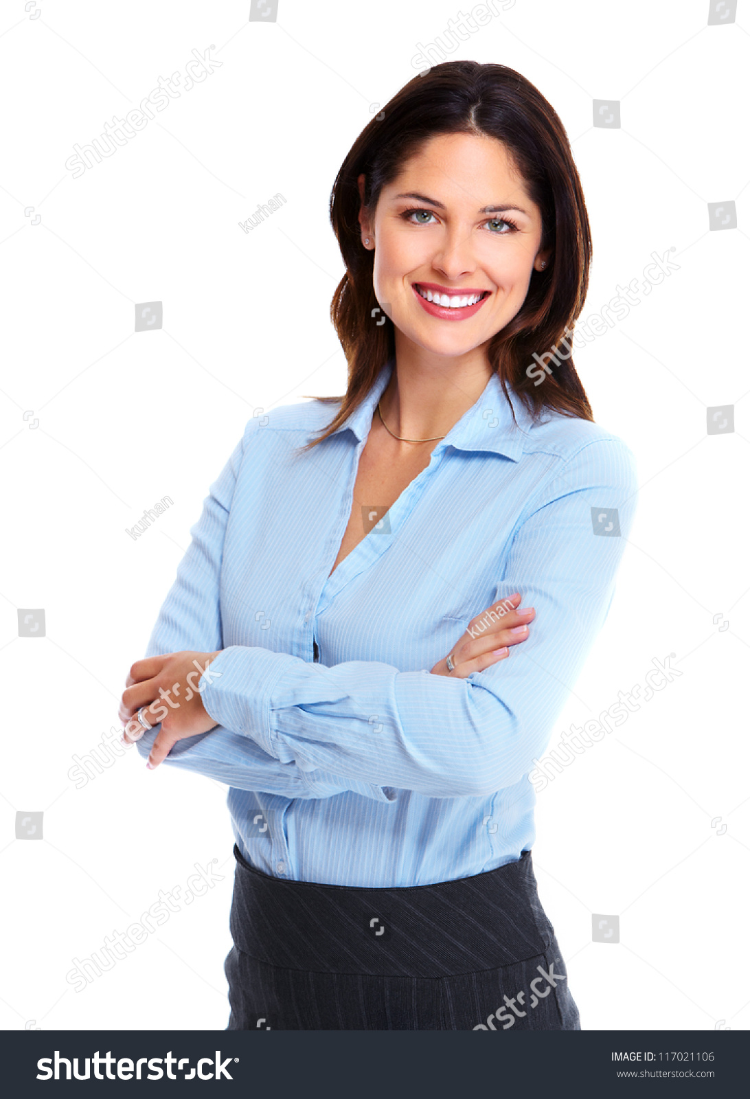 Young Happy Smiling African American Black Teen Girl With: Portrait Happy Young Business Woman Isolated Stock Photo