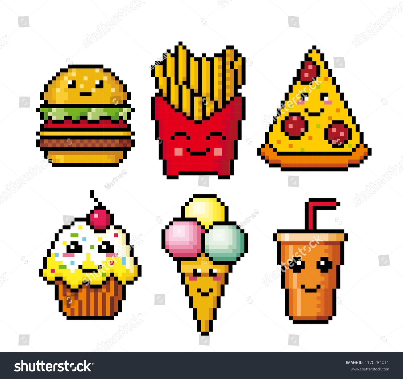 Fast Food Pixel Art Vector Illustration Stock Vector