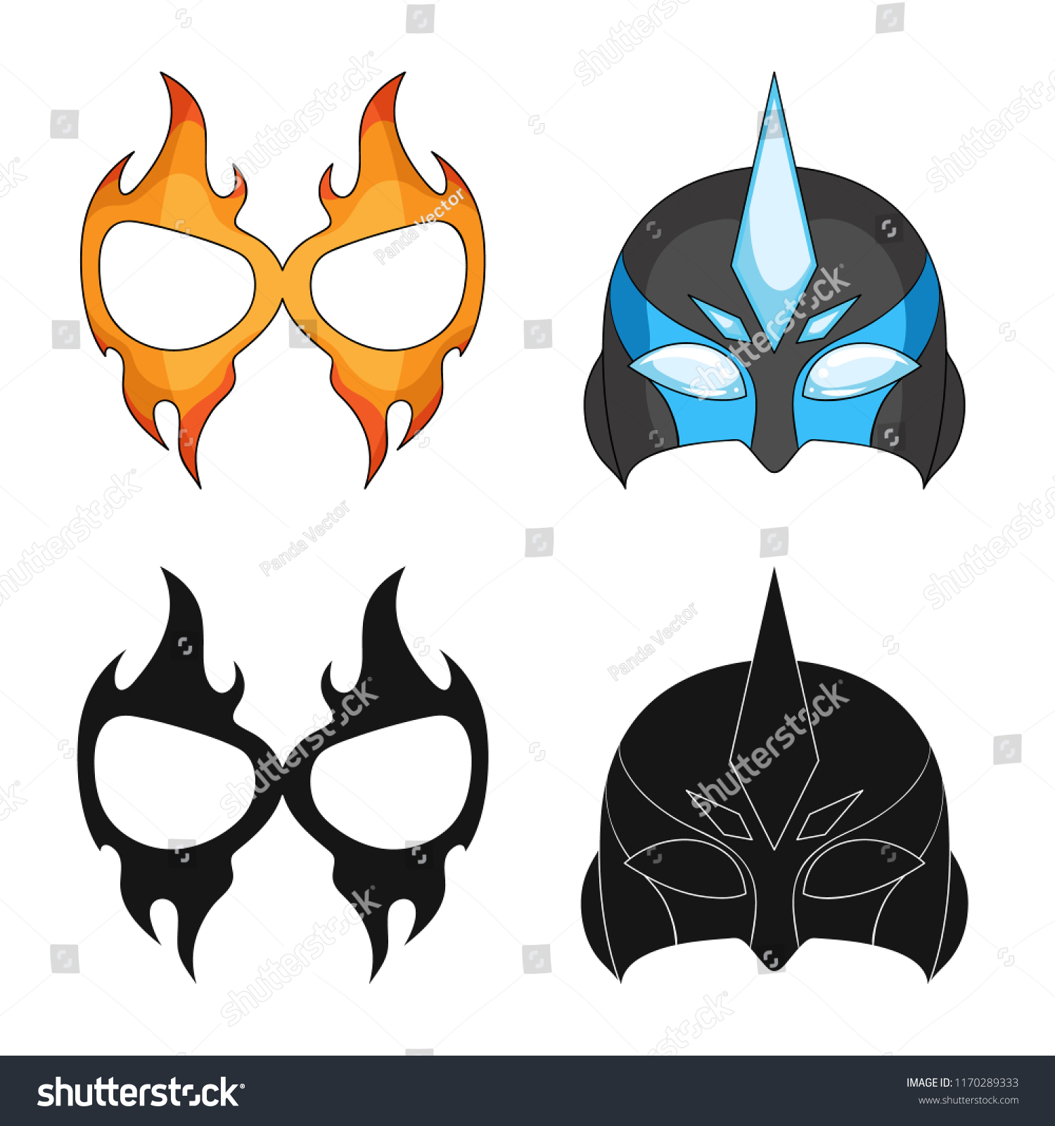 Vector Illustration Hero Mask Symbol Collection Stock Vector
