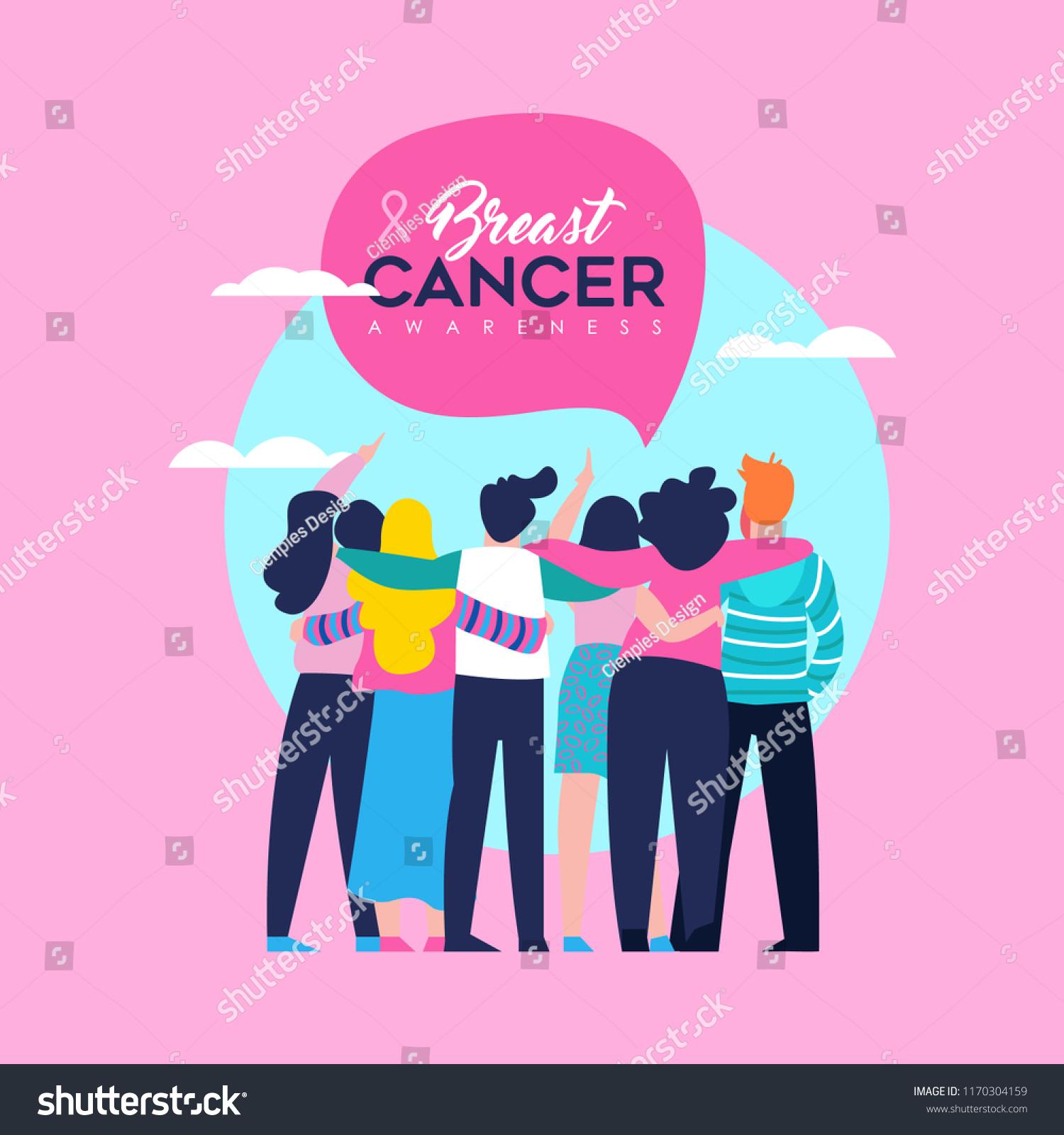 breast cancer awareness month illustration diverse のベクター画像