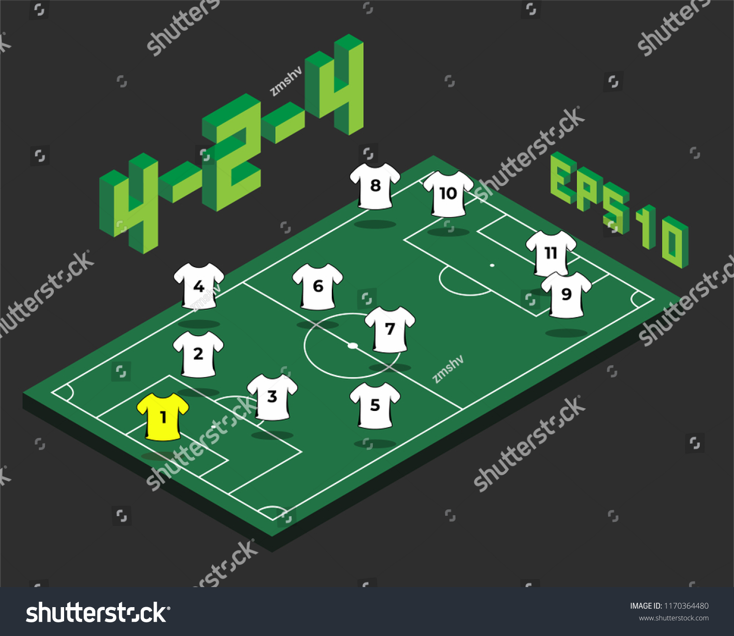 football 424 formation isometric field soccer stock vector royalty