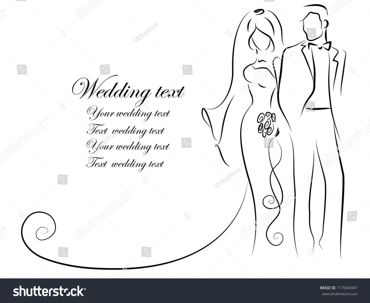 Silhouette Bride Groom Background Wedding Invitation Stock Photo ...