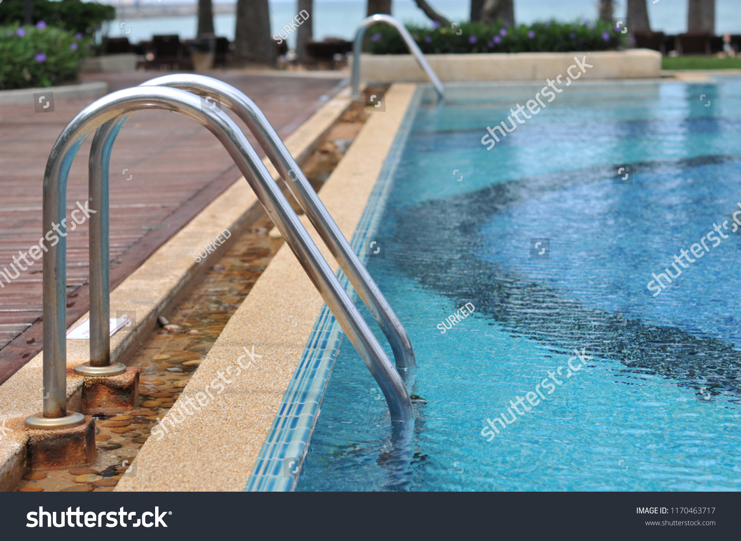 Grab Bars Ladder Swimming Pool Blue Stock Photo (Edit Now