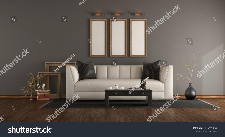 Elegant Living Room White Sofaleather Coffee Stock