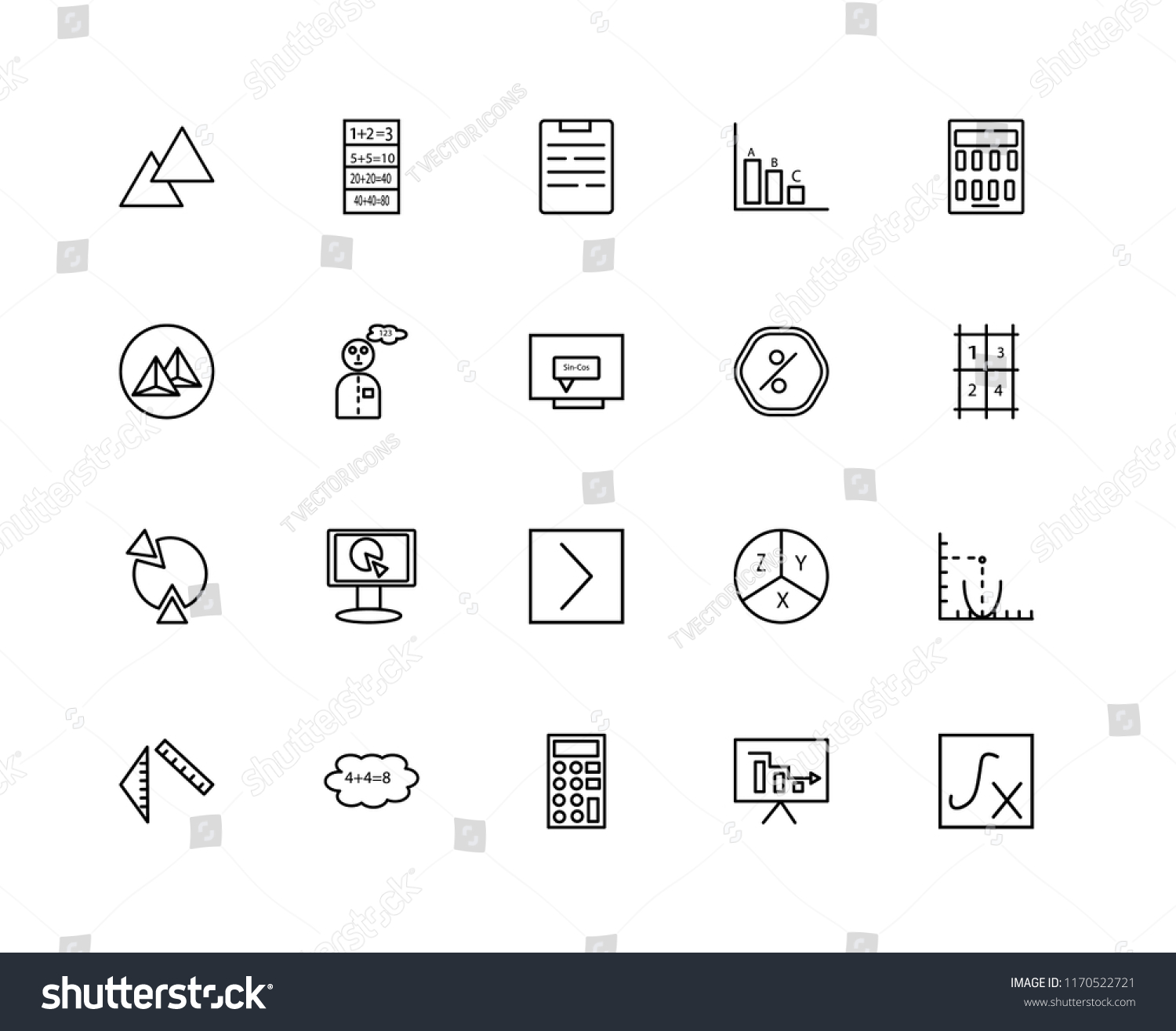 Set 20 Linear Icons Such Function Stock Vector (Royalty Free